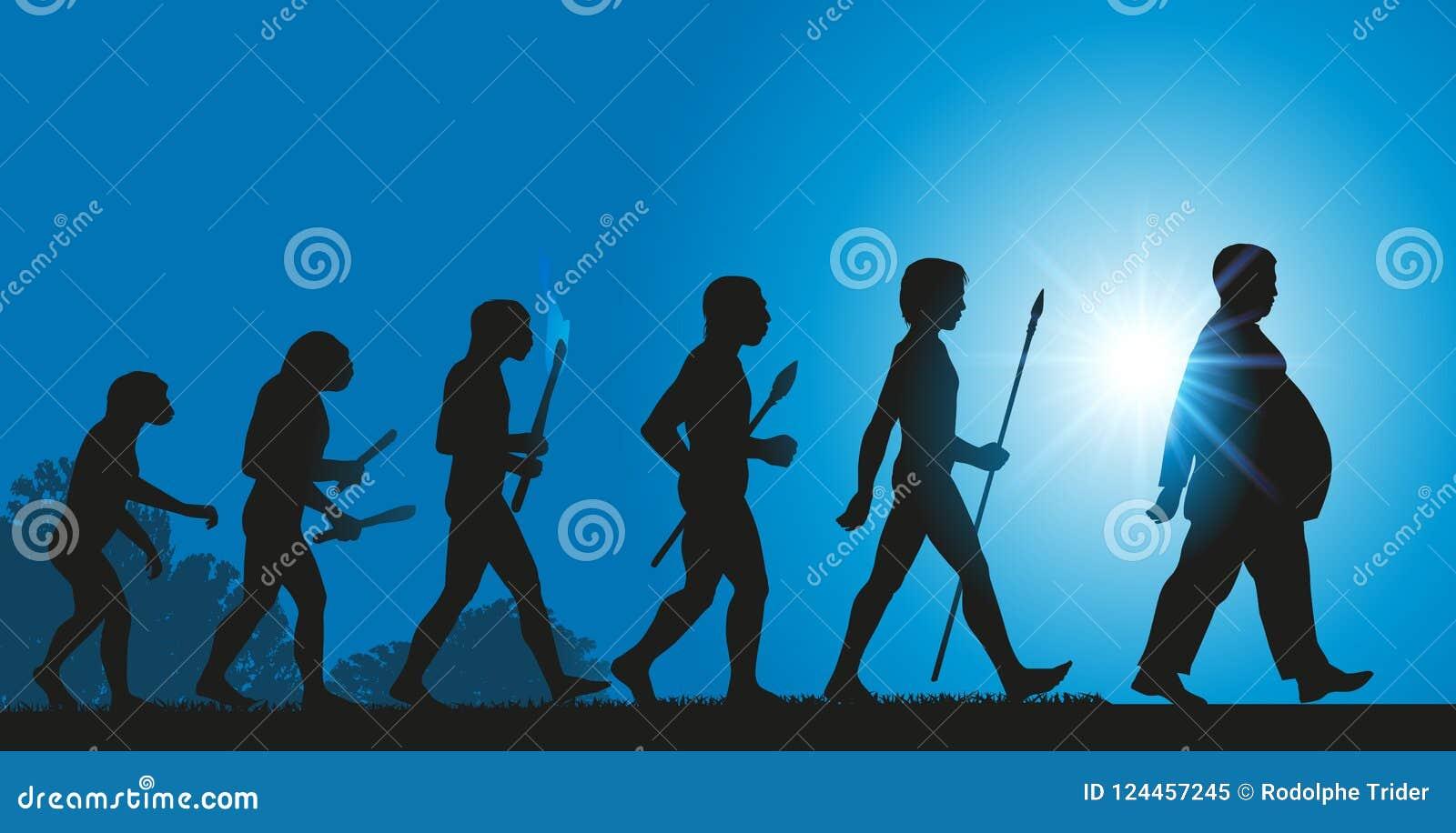 Die Entwicklung von Menschlichkeit in Richtung zu einer Zunahme der Korpulenz wegen einer schlechten Diät