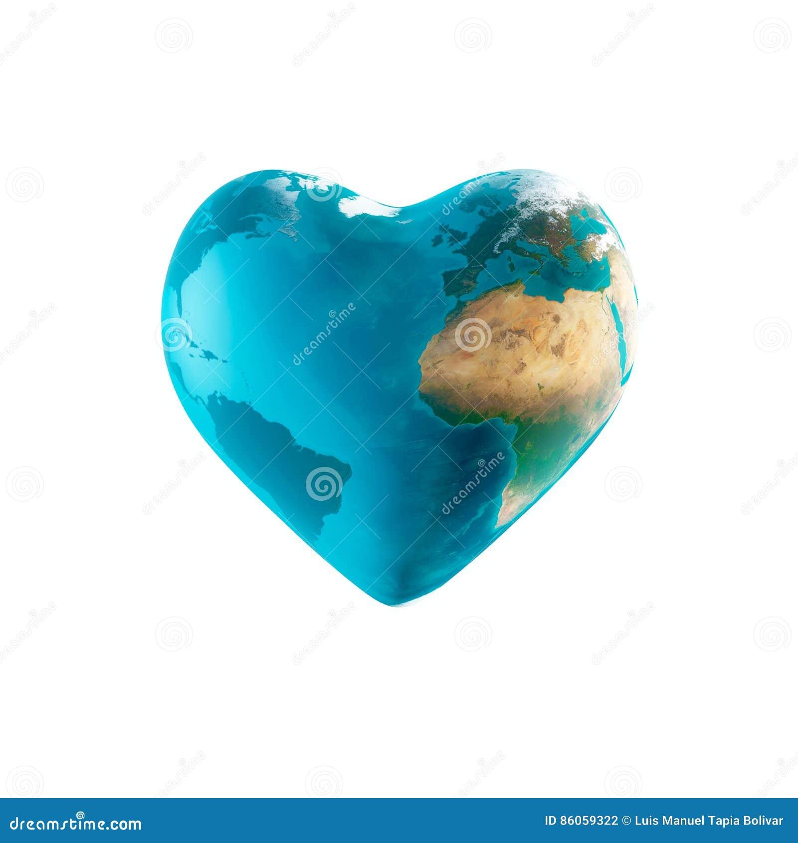Die Erde mit Herzform