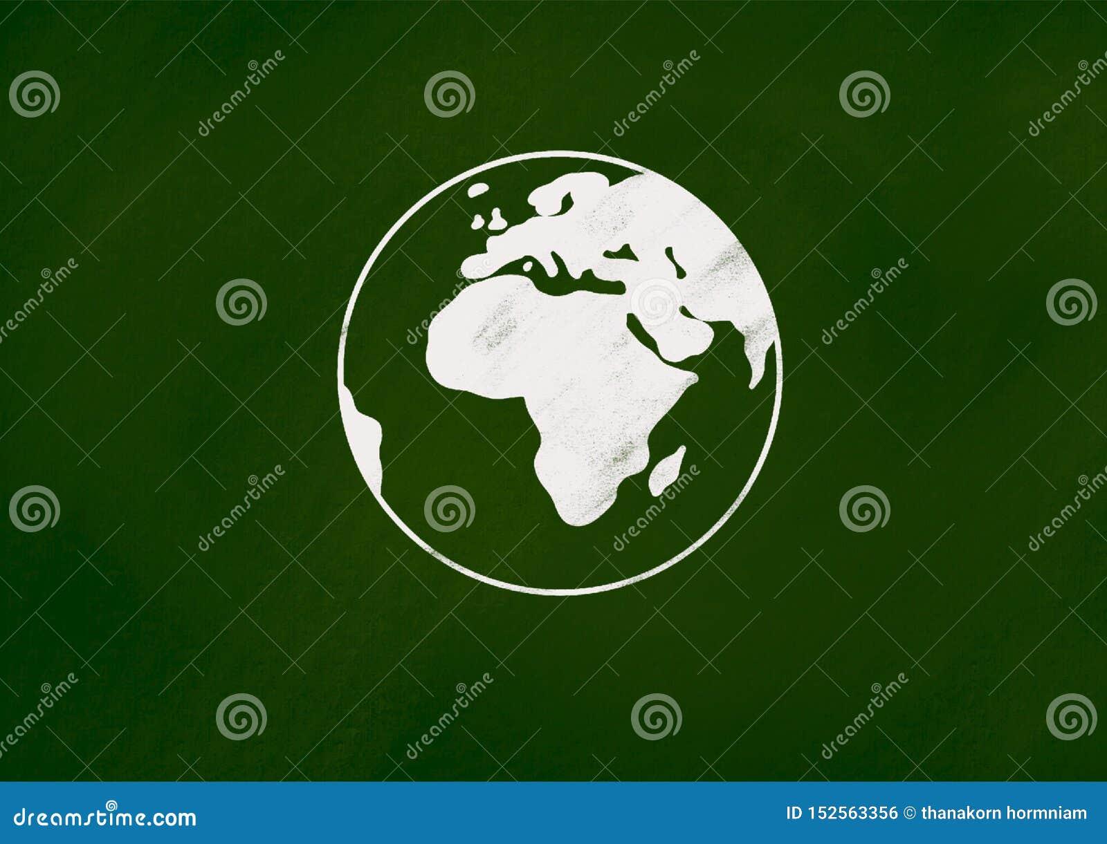 Die Erdekreidezeichnung auf grüner Tafel