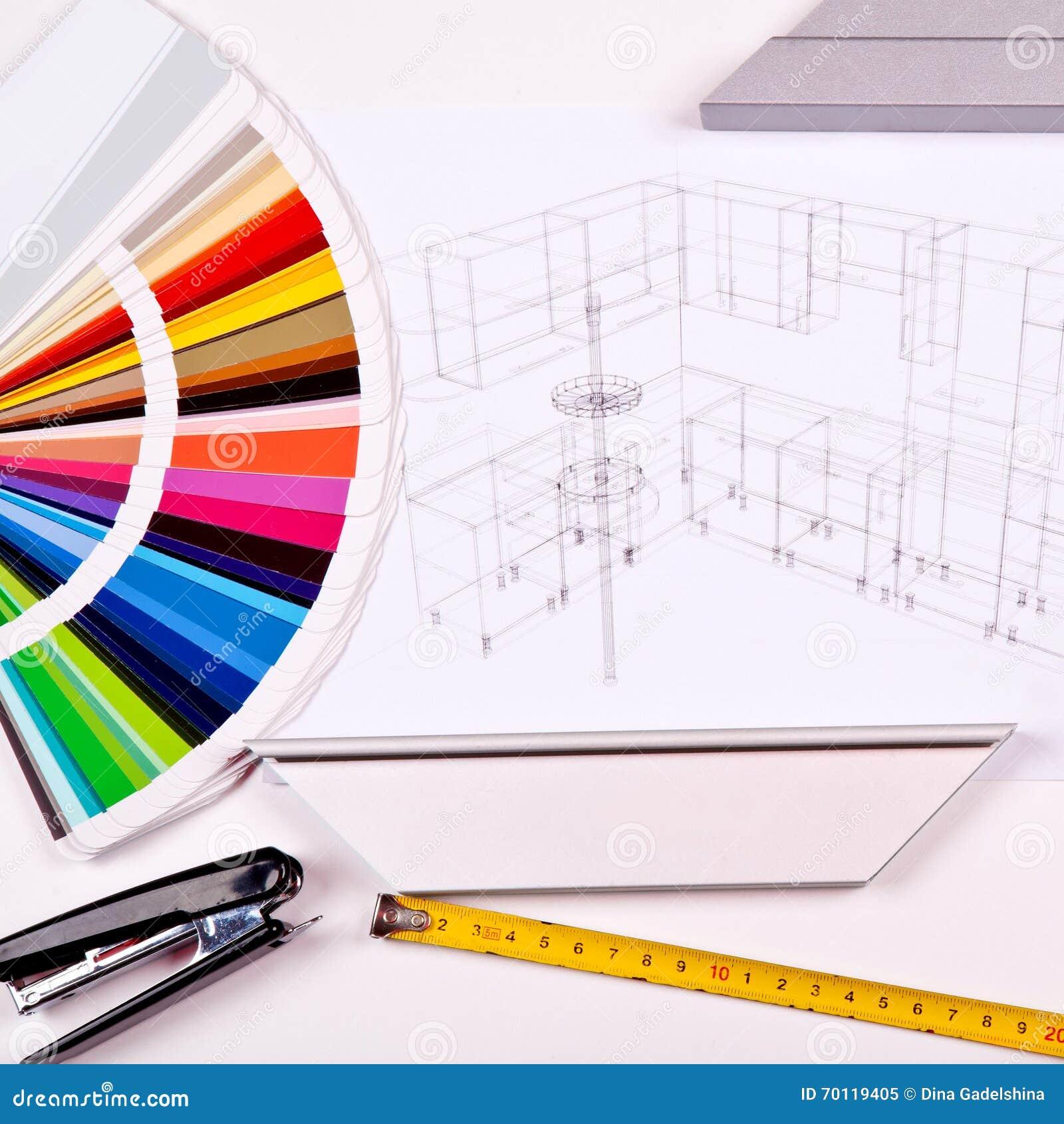 Bau  Und Gestaltungskonzept Sichtbarmachung 3D Des Küchenprojektes Im Bau  Mit Den Hölzernen Und Plastikgremien, Farbpalette Und Einem Maßband Auf ...