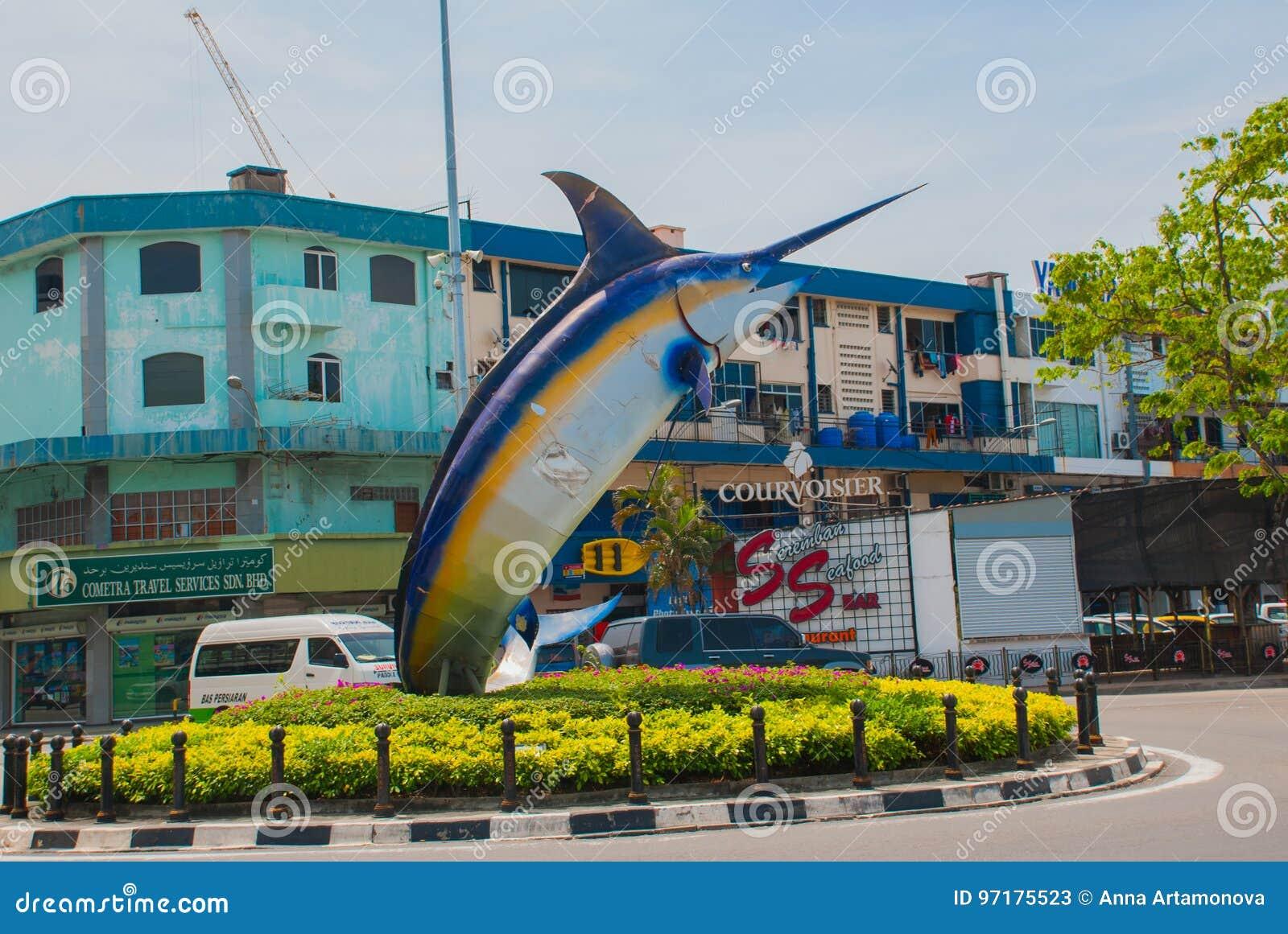 Die Fischskulptur Auf Der Ufergegend Kota Kinabalu Sabah Malaysia