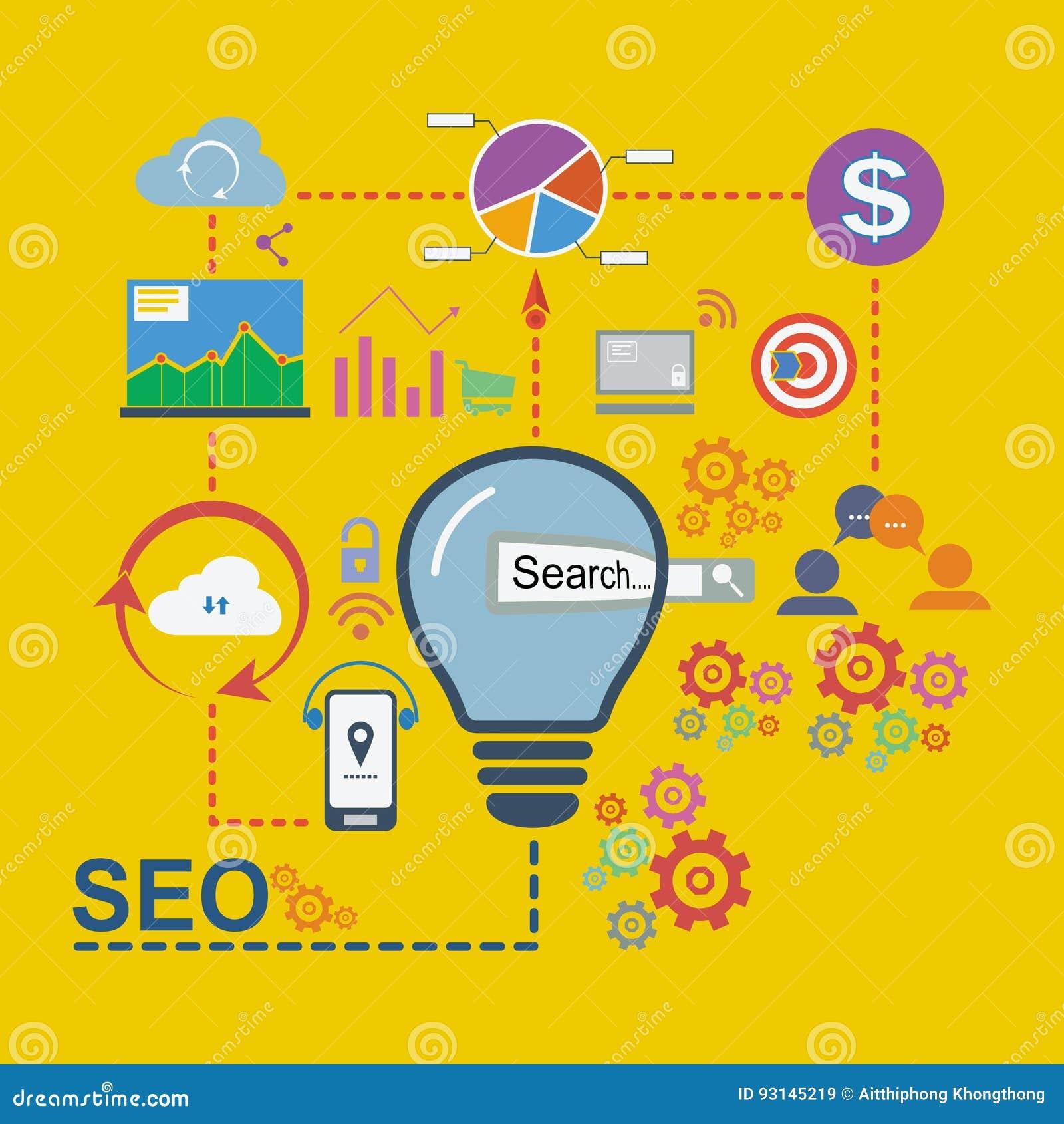 Die flachen Designikonen, die von der Analytik eingestellt werden, suchen Informations- und Websiteseo Optimierung, Vektorillustr