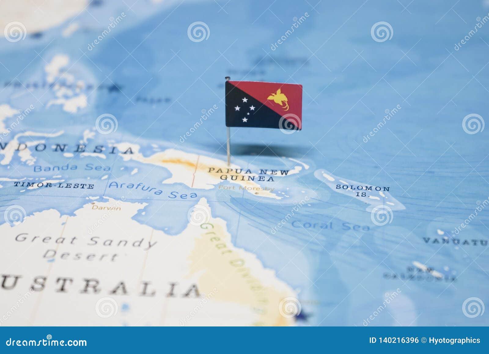 Die Flagge von Papua-Neu-Guinea in der Weltkarte