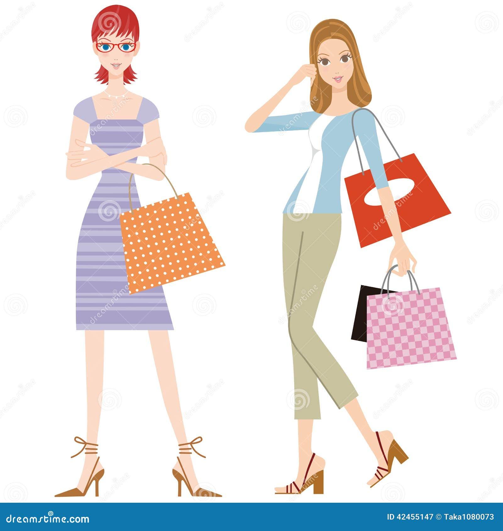 Die Frau, die das Einkaufen tut