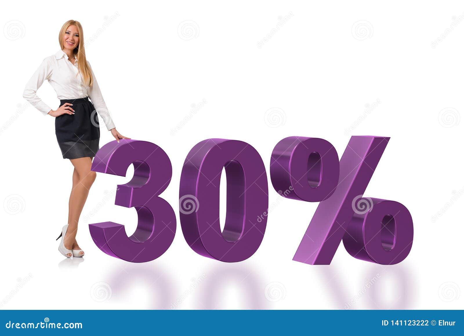 Die Frau im 30-Prozent-Verkaufskonzept