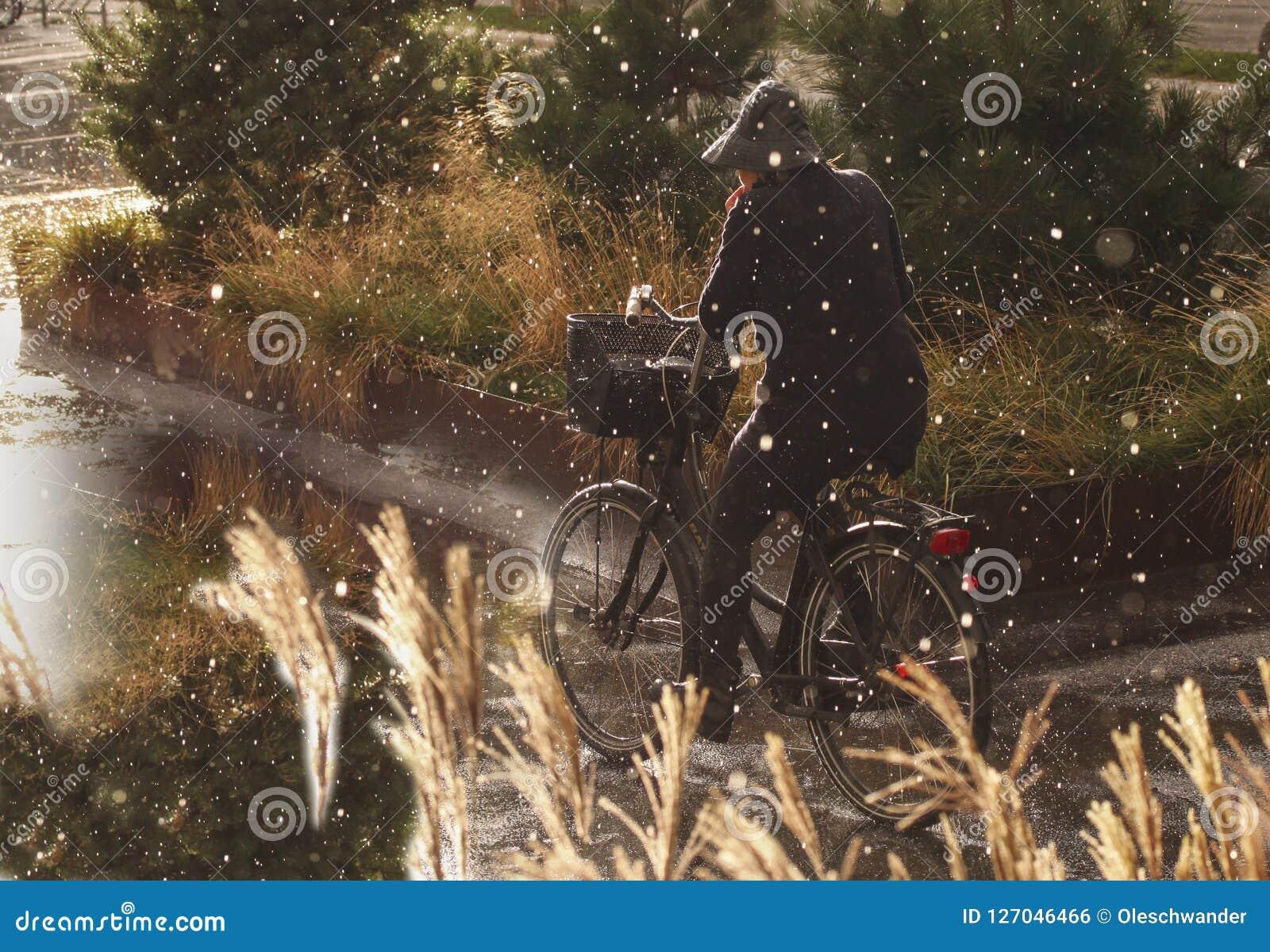Die Frau, die in Regen mit Regenkleidung radfährt - regnen Sie das Tropfenfallen schwer