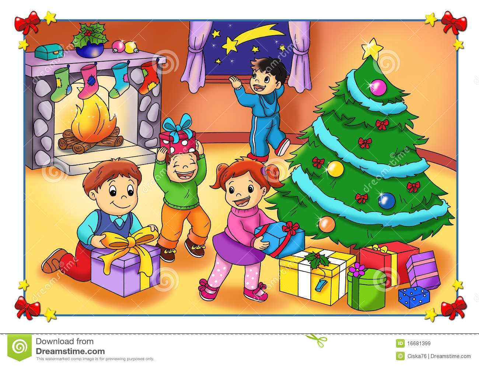 Imagen De Una Familia Feliz Animada: Die Freude Am Weihnachten Stock Abbildung. Illustration