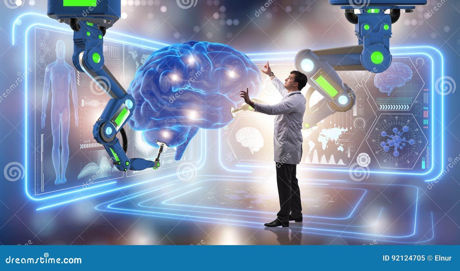 Die Gehirnchirurgie erfolgt durch Roboterarm