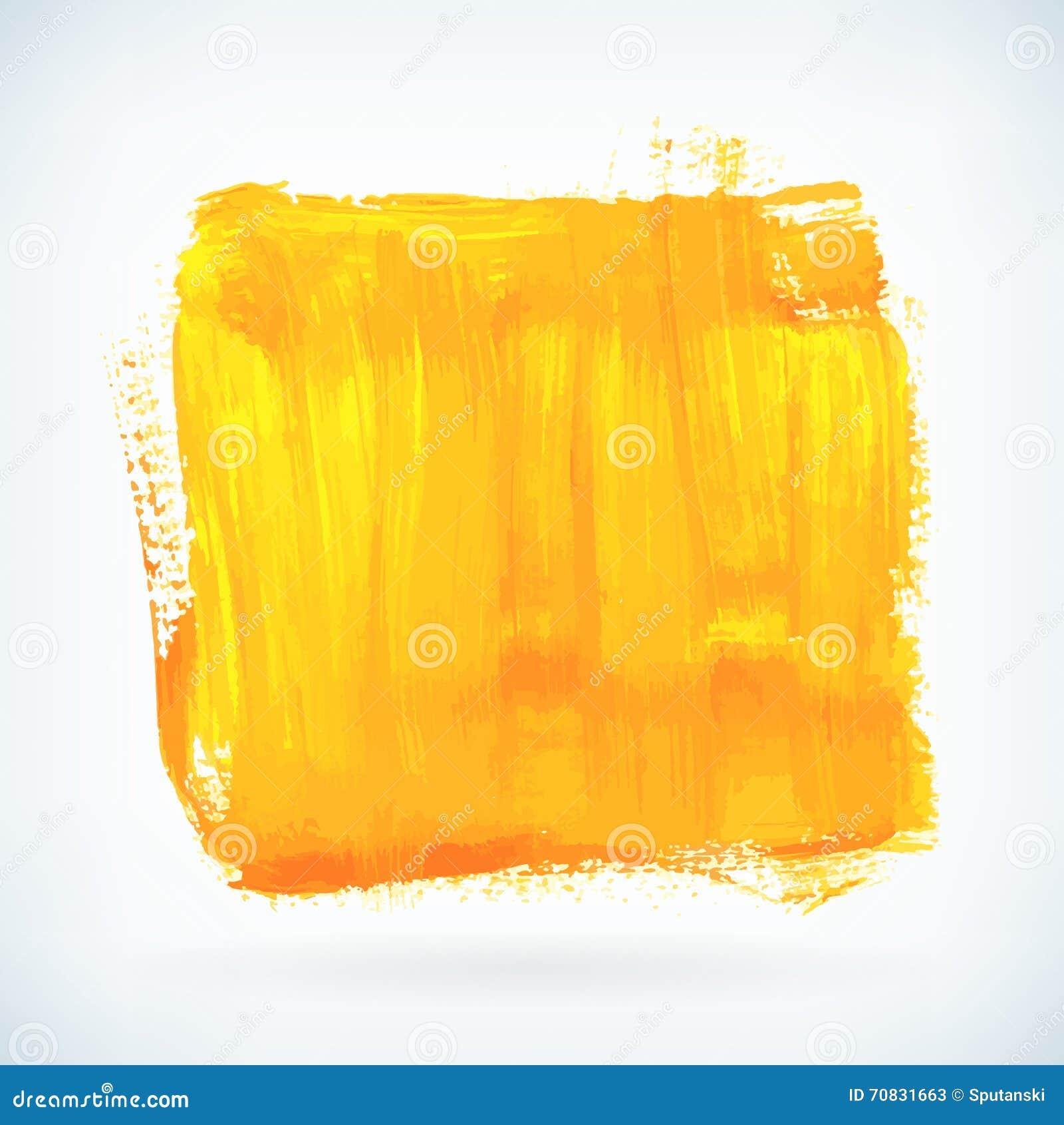 Die Gelbe Künstlerische Farbe Trocknen Bürstenanschlag