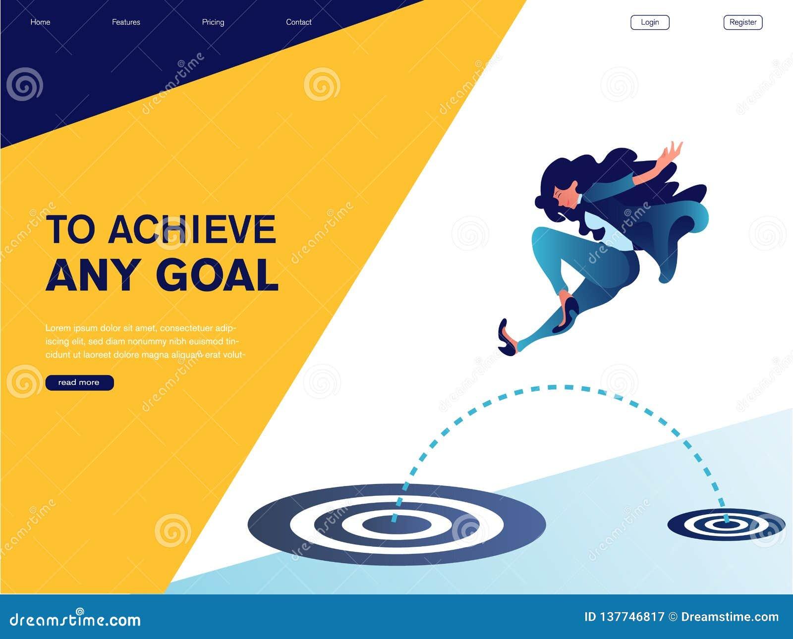 Die Geschäftsfrau springend zum großen Ziel Zu irgendein Ziel erzielen