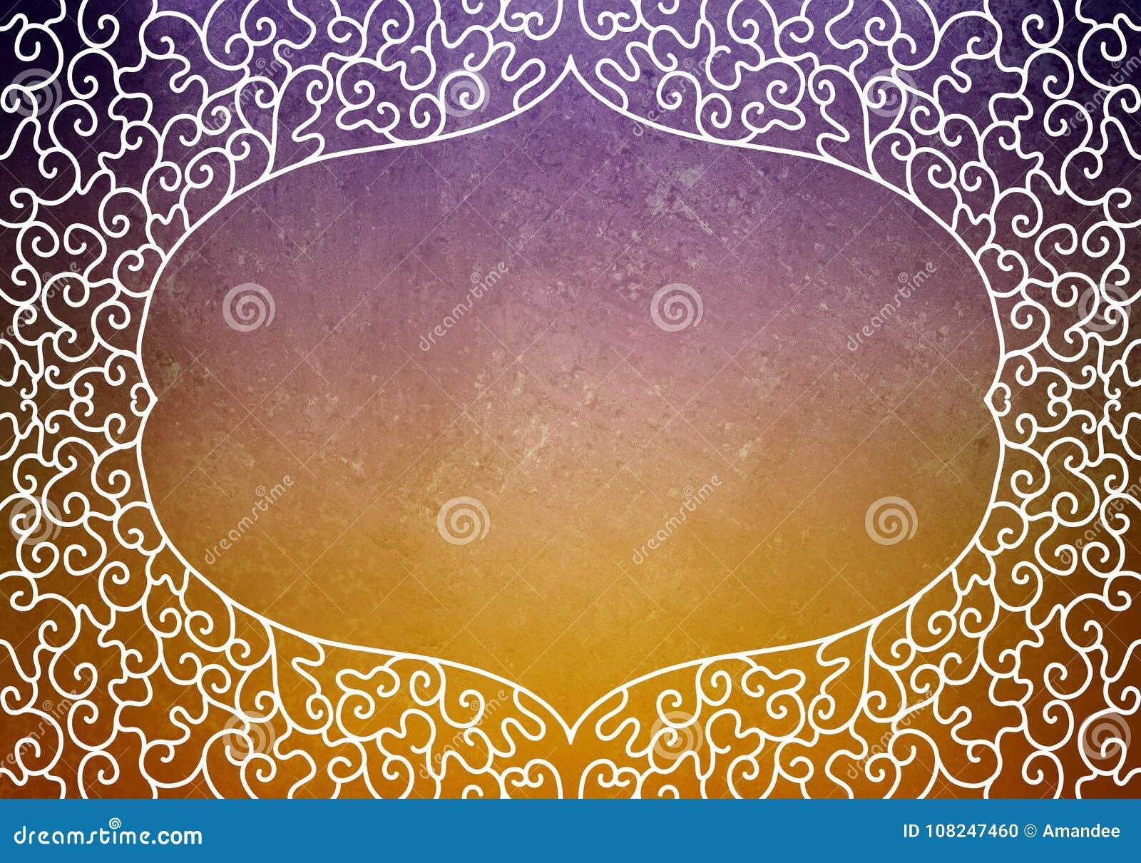 Die gezeichnete Hand verzierte Spitzelockenrahmen-Designgrenze auf purpurrotem und orange Hintergrund, leerem Zertifikatdokumente