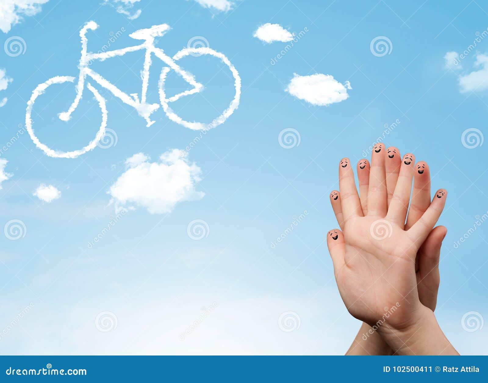 Die glücklichen smileyfinger, die ein Fahrrad betrachten, shapeed Wolke