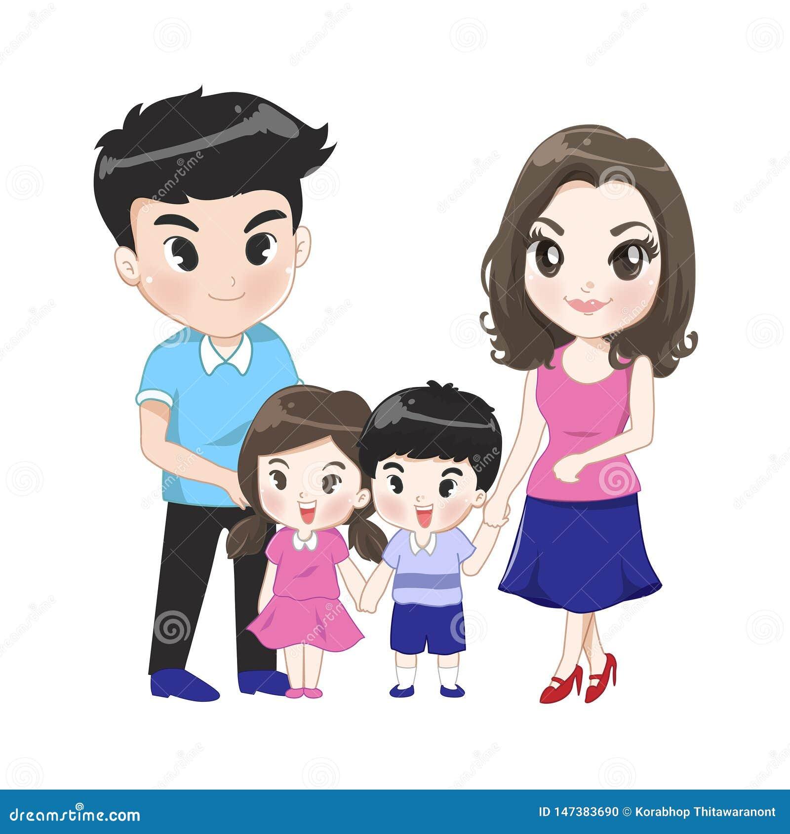 Die große Familie hat Elternsohntochter