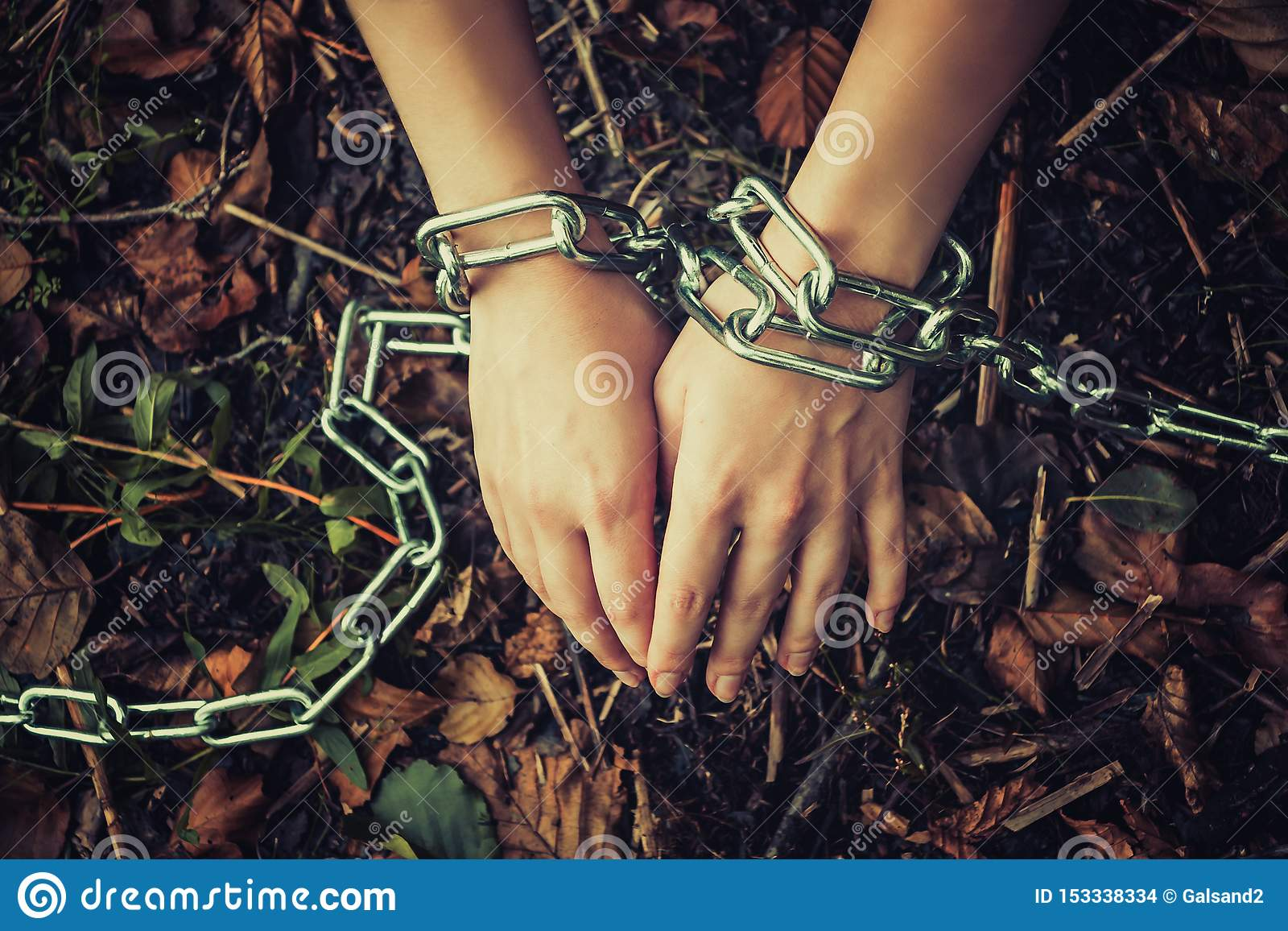 Die Hände der Frauen ketteten in einem dunklen Wald - das Konzept der Gewalttätigkeit, Geisel, Sklaverei an