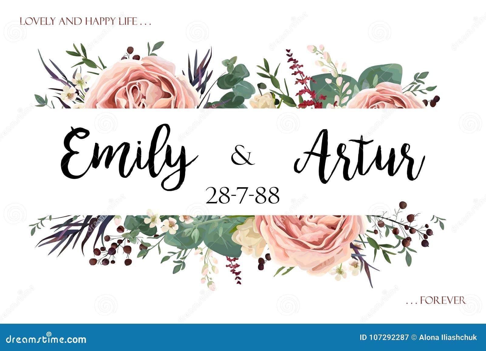 Die Heirat laden Einladungsabwehr das Datumskartenblumenaquarell s ein