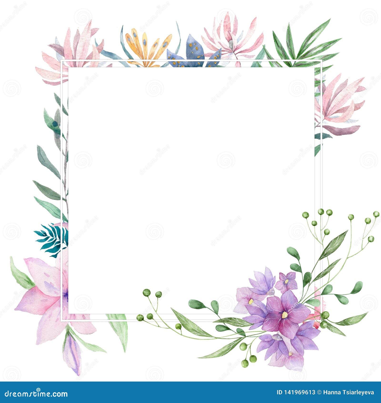 Die Heiratseinladung, mit Blumen laden die geometrischen Karte ein, die rosa Blumen und grünen die Blätter Rauten-Rechteckrahmen