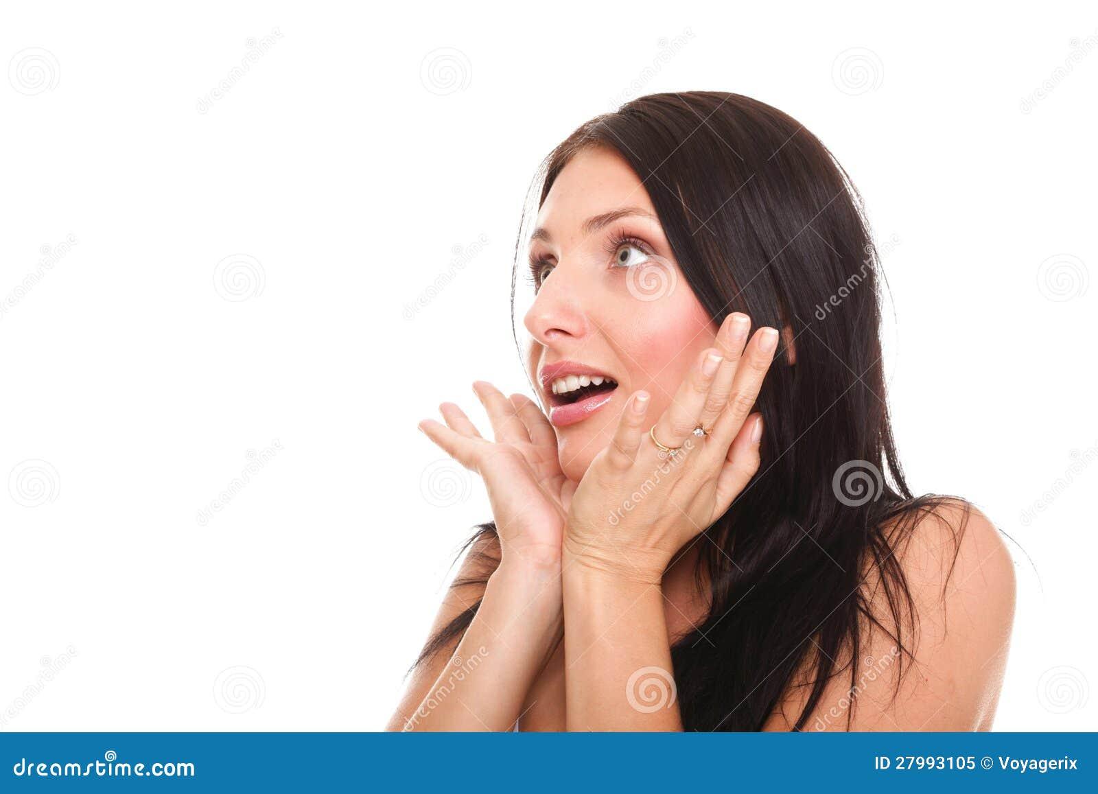 Die helle Abbildung der hübschen Frau erstaunt mit überreicht Mund