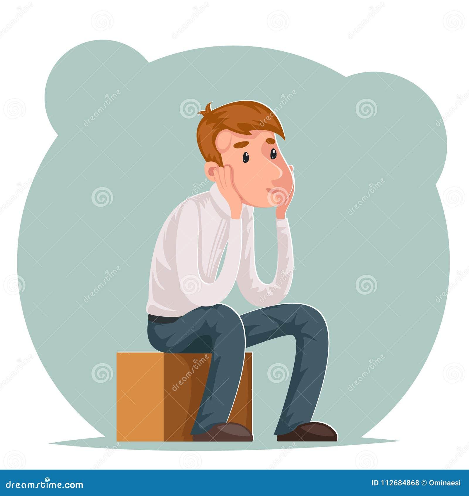 Die Herstellung Entscheidung des nachdenklichen Geschäftsmannes sitzt auf Kasten denkt Charakterikonenkarikaturdesignschablonen-V