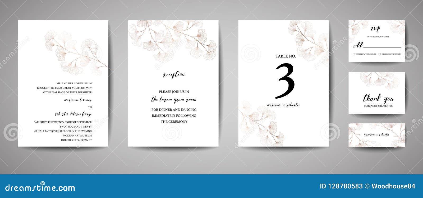 Die Hochzeits-Einladung, mit Blumen laden danken Ihnen, rsvp modernem Karte Design im kupfernen Ginkgo ein, den biloba Niederlass