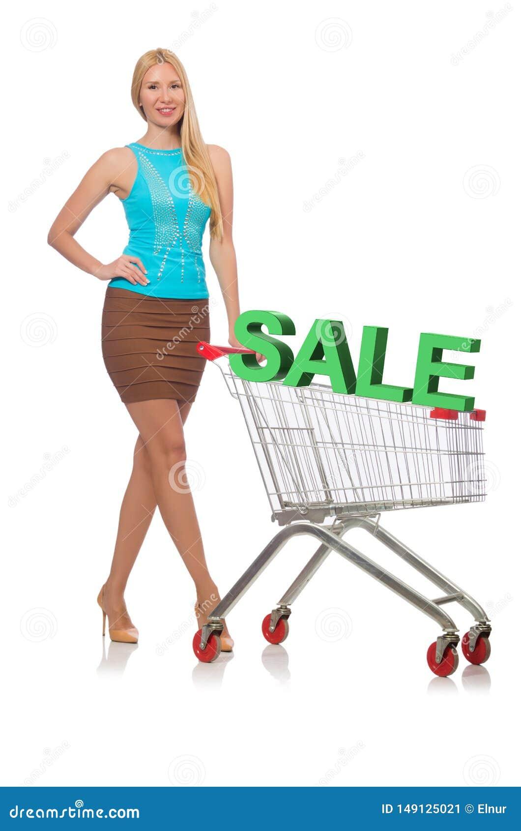 Die junge Frau, die das Einkaufen lokalisiert auf Wei? tut
