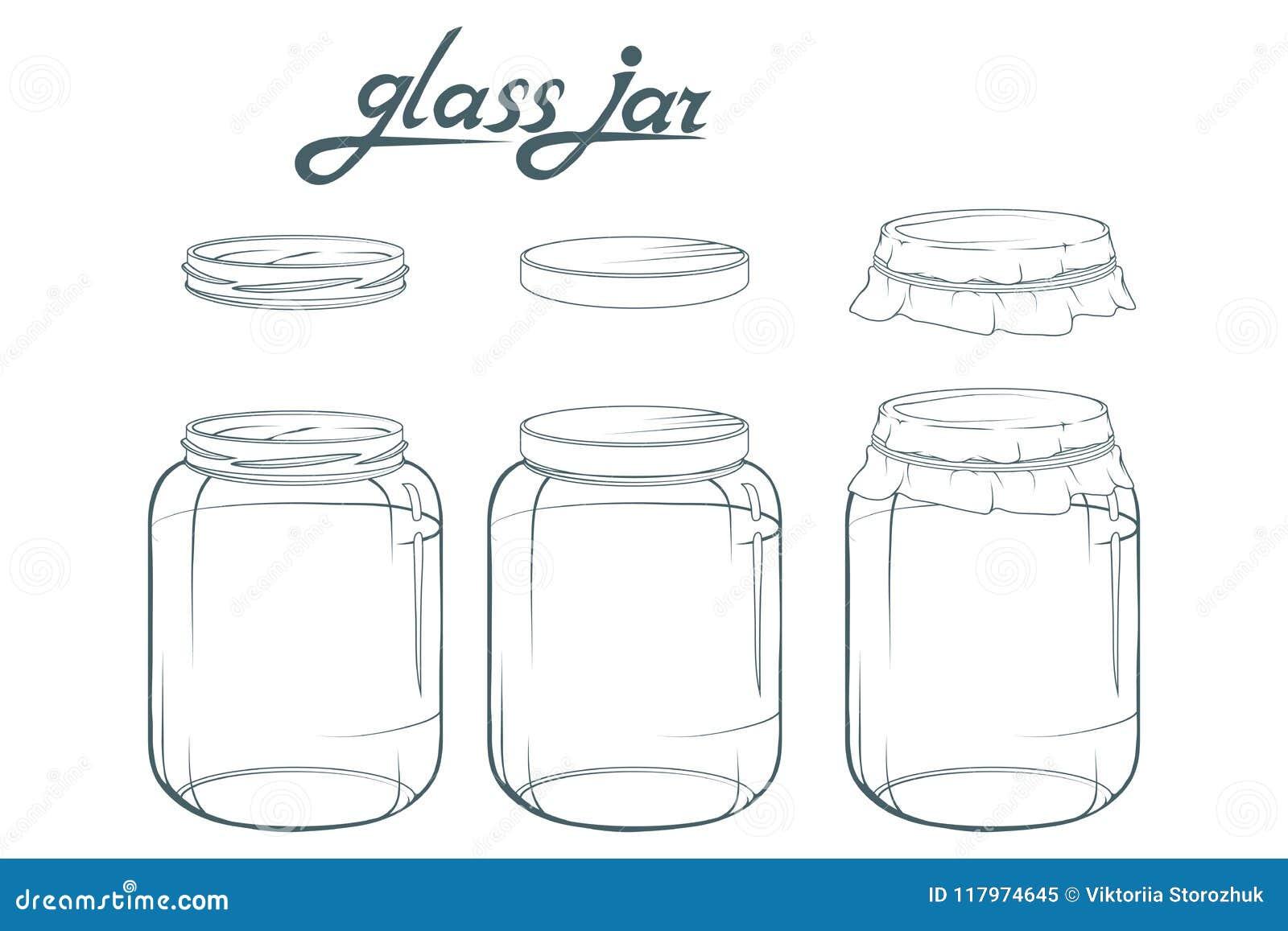 Die Körner des Kaffees werden auf einer Tabelle verschüttet Glashand gezeichnet Beschriftung des Glasgefäßes