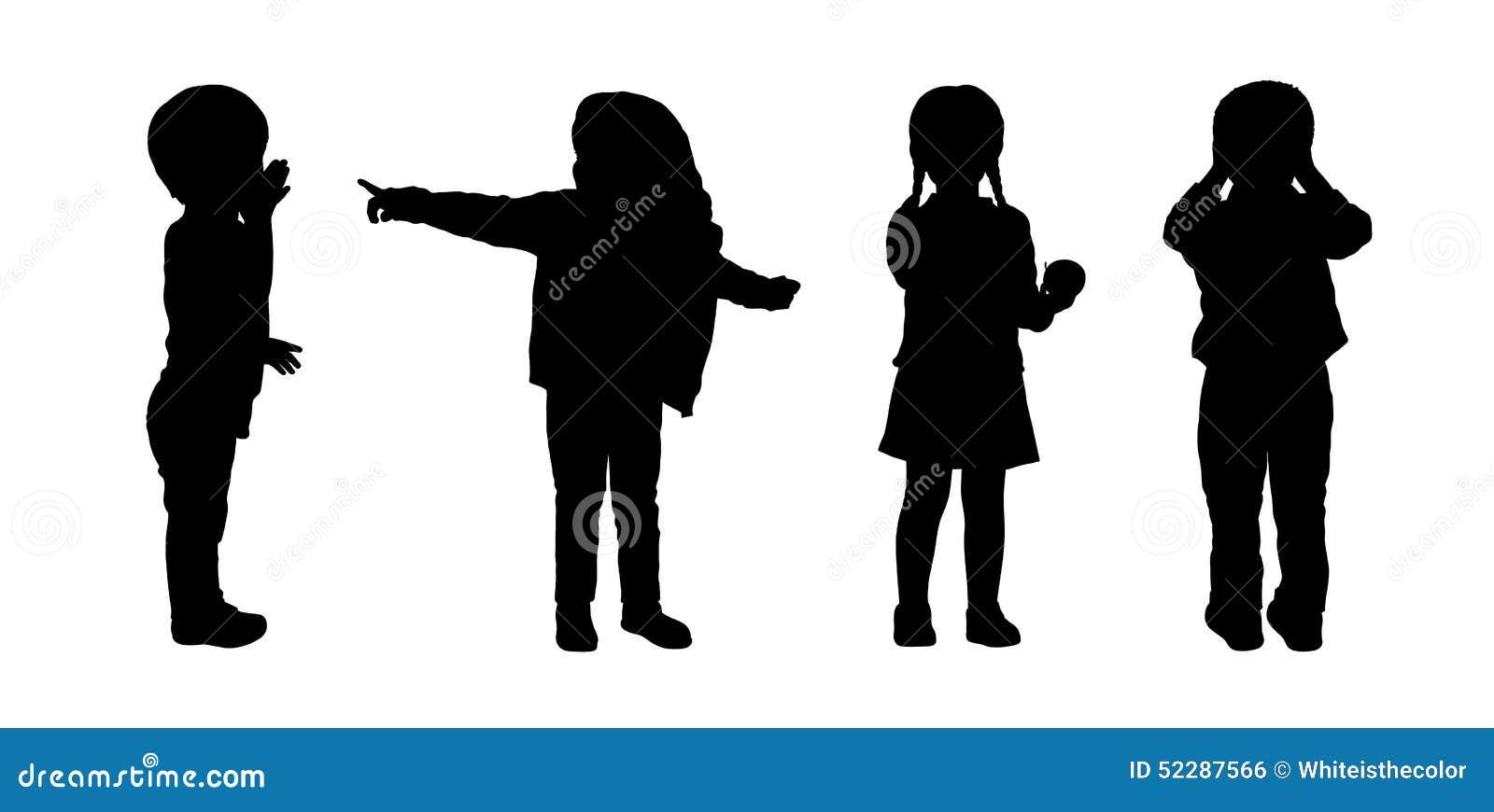 Die kinder die schattenbilder stehen stellten 3 ein - Schattenbilder kinder ...