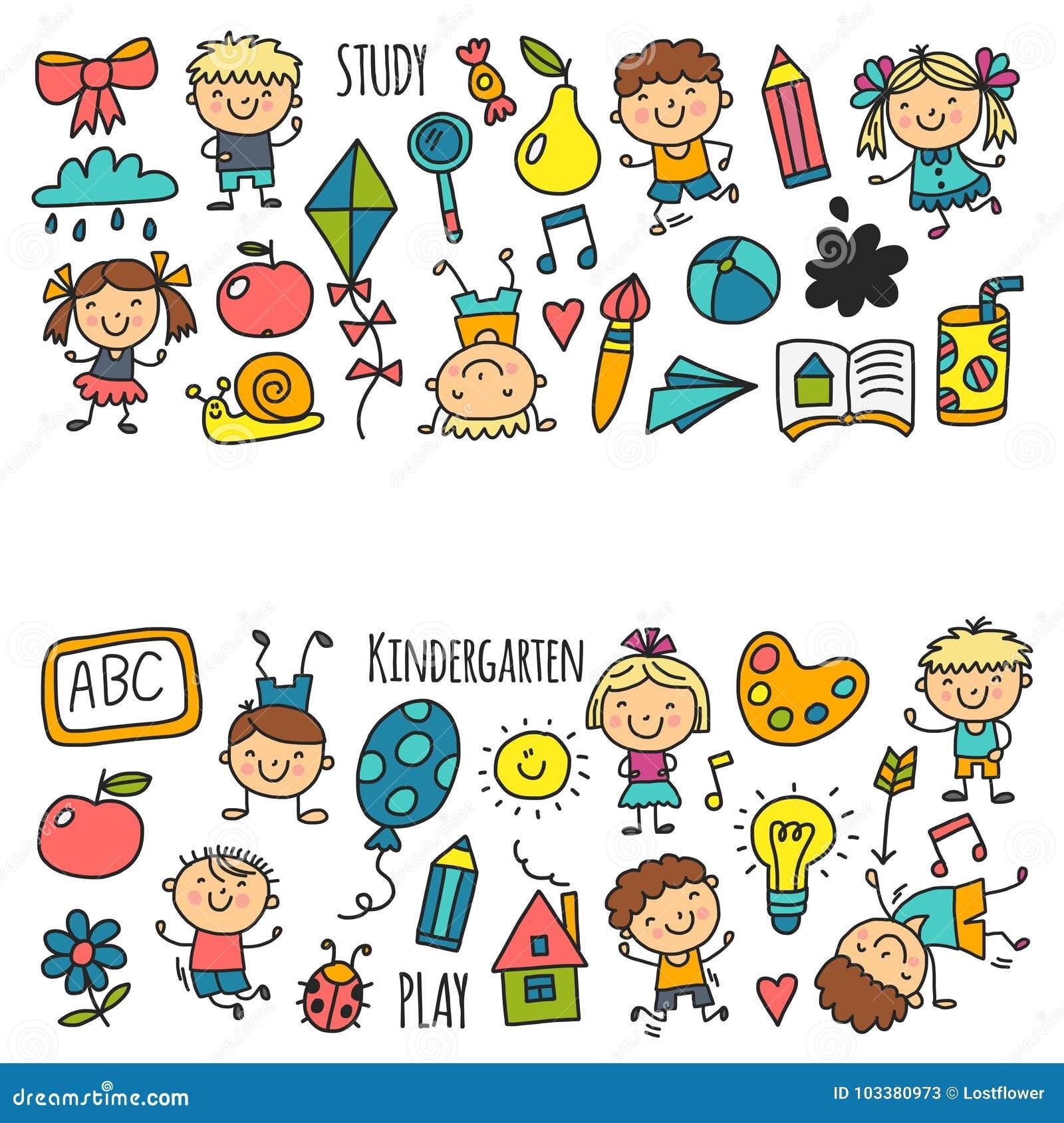 Die kinder die kindergarten zeichnen schulen gl ckliche for Sofa zeichnen kinder