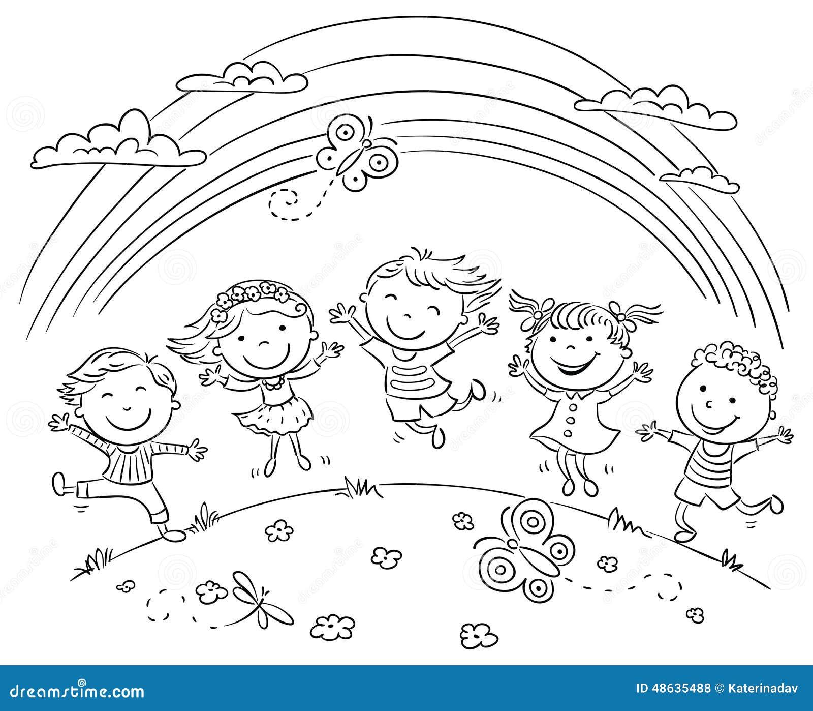 Die Kinder Mit Joy On Einen Hügel Springend Unter Regenbogen Vektor
