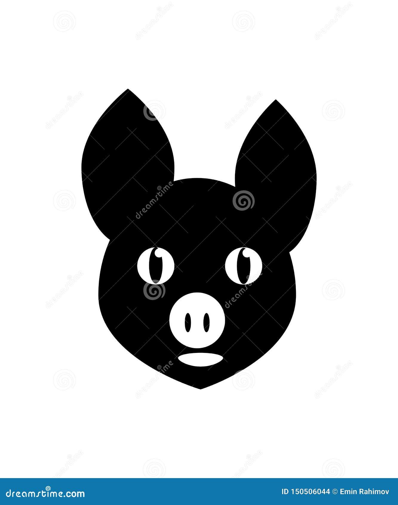 Die kopf- schwarze Ikone des Schweins