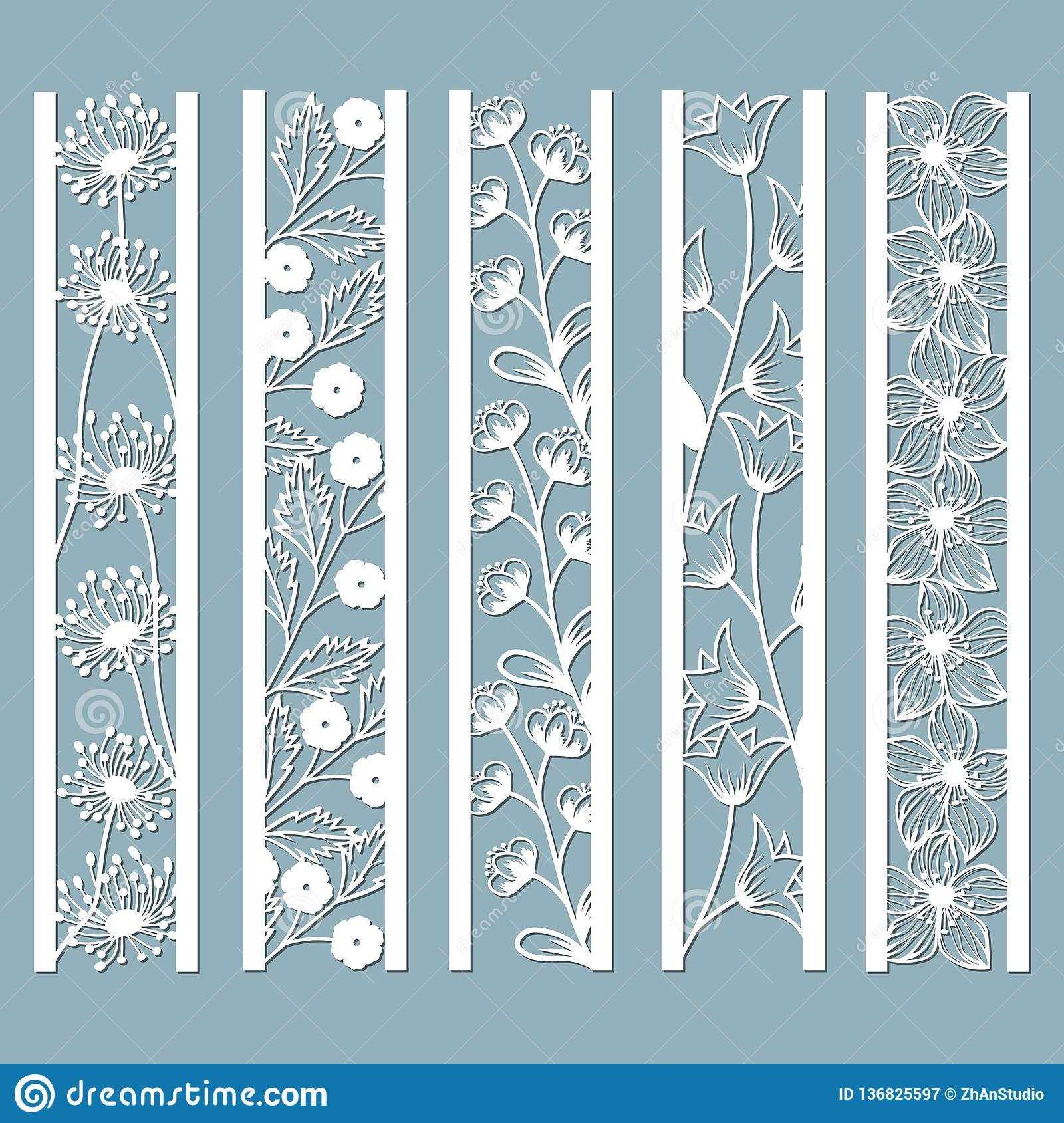 Die and laser cut ornamental panels with floral pattern. bell, dandelion, Orchid, flowers and leaves. Laser cut decorative lace
