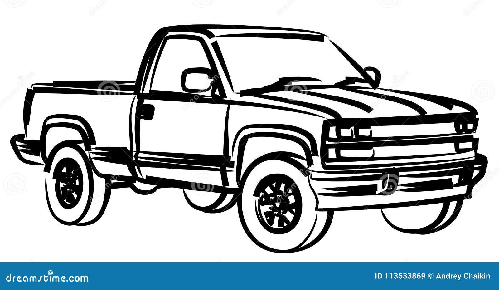 Die LKW Skizze vektor abbildung. Illustration von service - 113533869