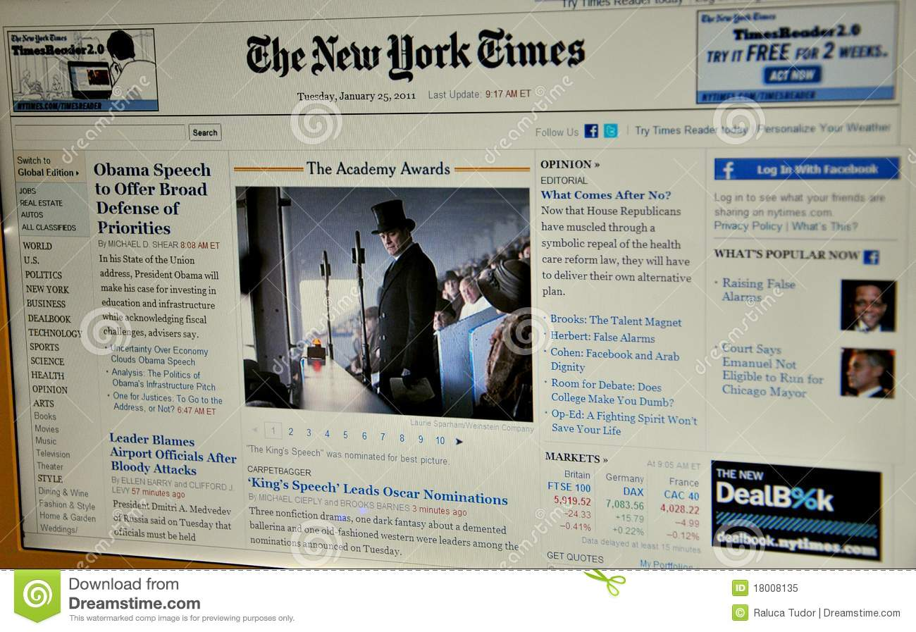 Die New- York Timesweb site