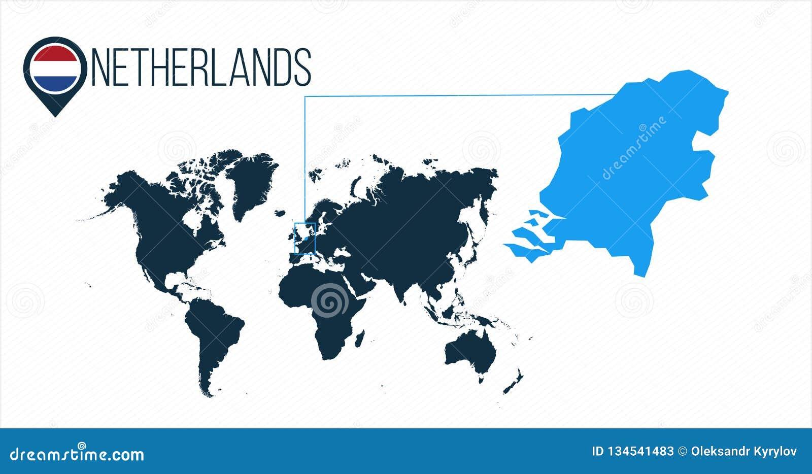 Die Niederlande Standort Auf Der Weltkarte Fur Infographics Alle