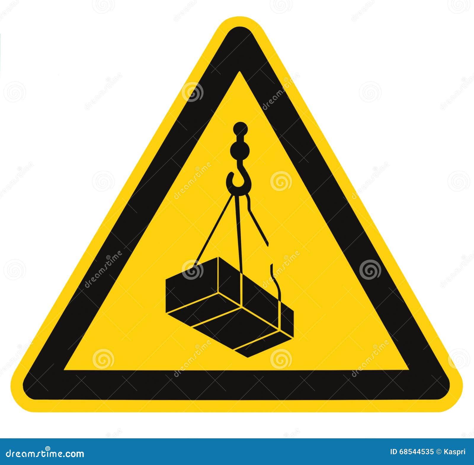 Die obenliegende Gefahr, Kranlastsabsturzgefährdungs-Risikozeichen, Frachtikone Signage, lokalisierte schwarzes Dreieck über gelb