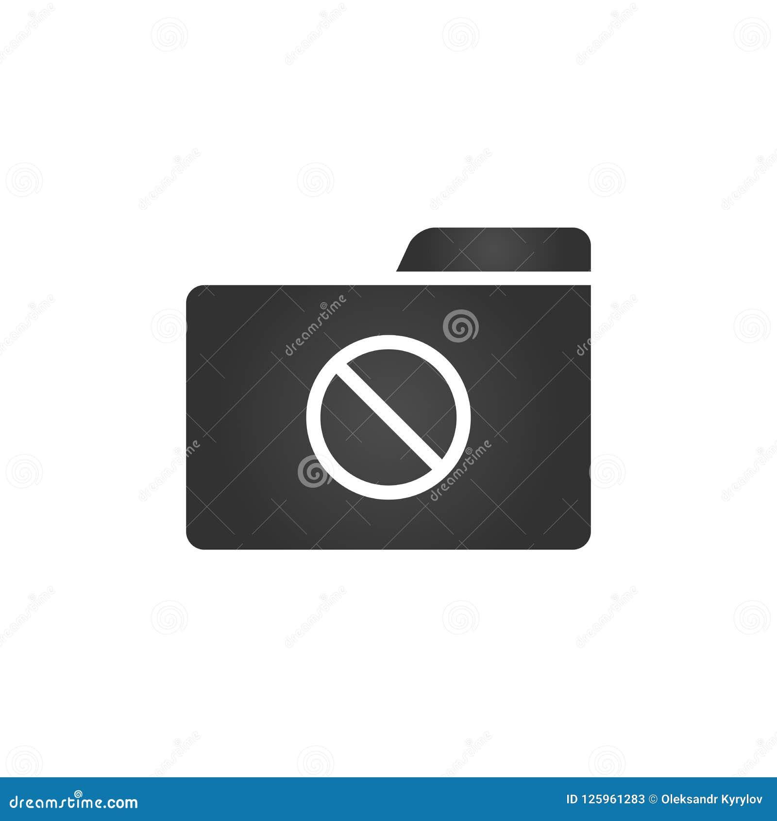 Die Ordner-Ikone mit verboten unterzeichnen herein modische flache Art lokalisiert auf weißem Hintergrund, für Ihr Websitedesign,