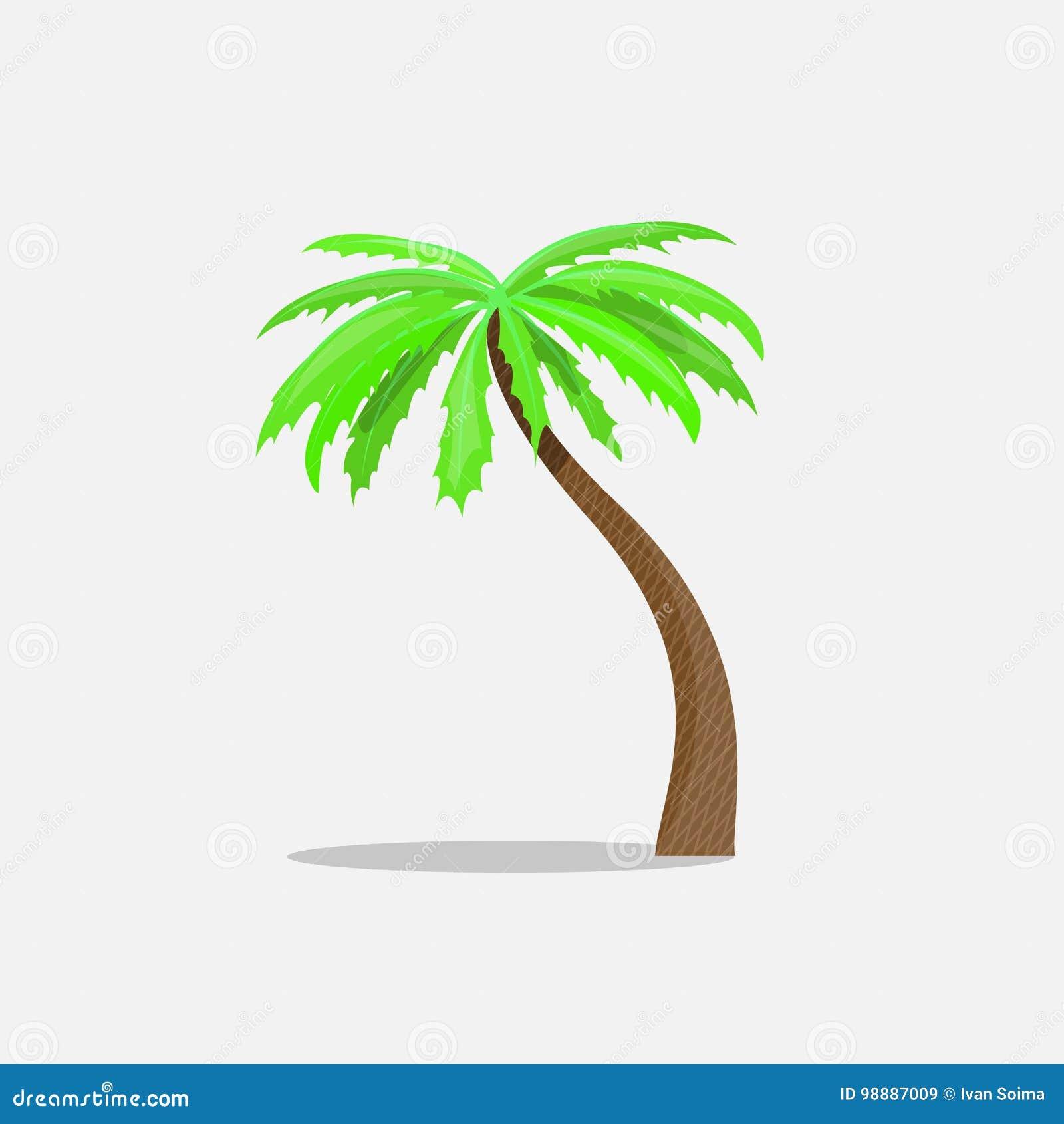 Die Palmen in der Karikaturart lokalisiert auf weißem Hintergrund Vector Illustration Tropisches Sommerbaum-Betriebssymbol
