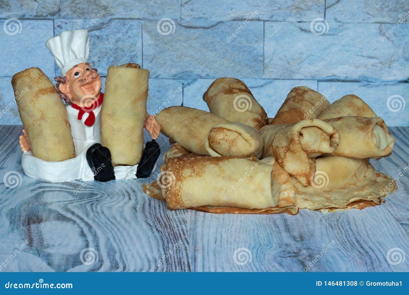 Die Pfannkuchen sind süß und gebacken für Sie mit Liebe heißes