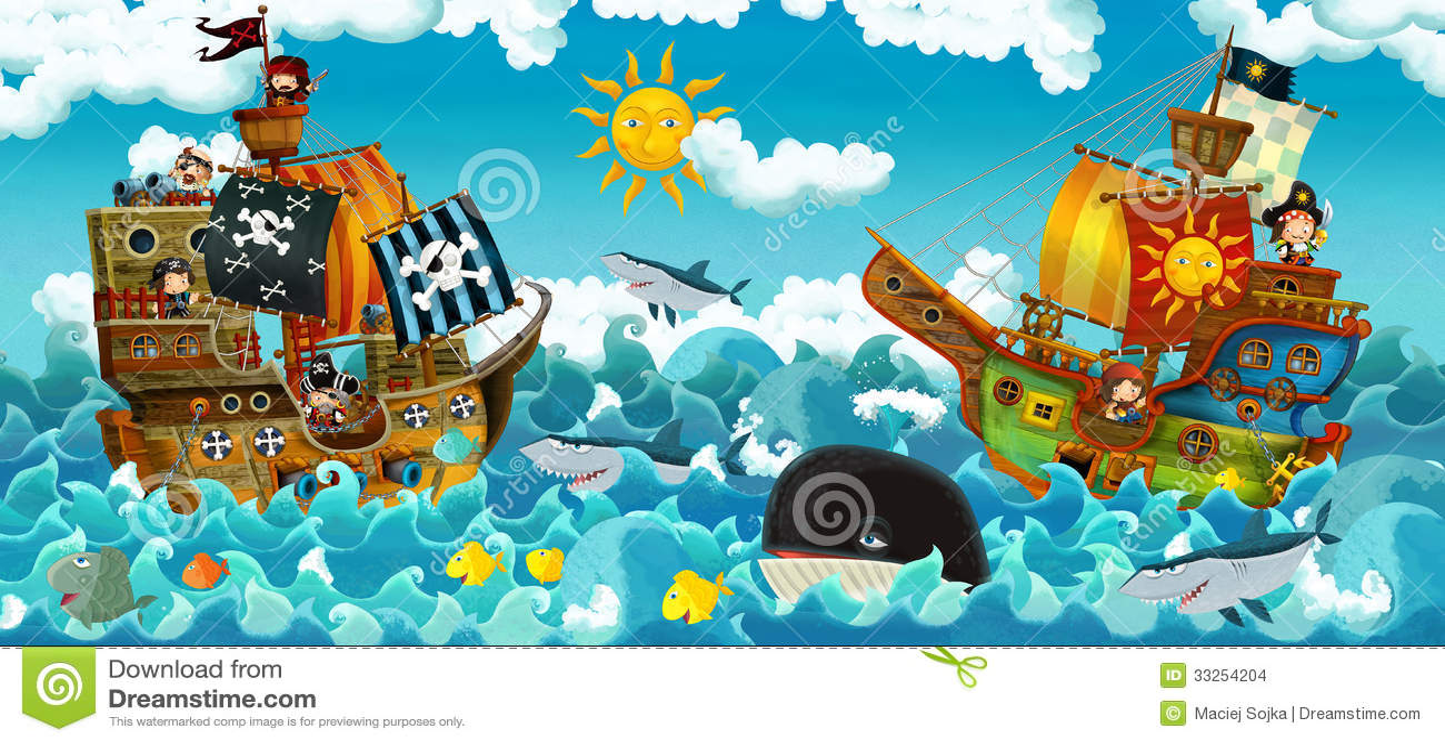 Die piraten auf der seeschlacht illustration für die kinder