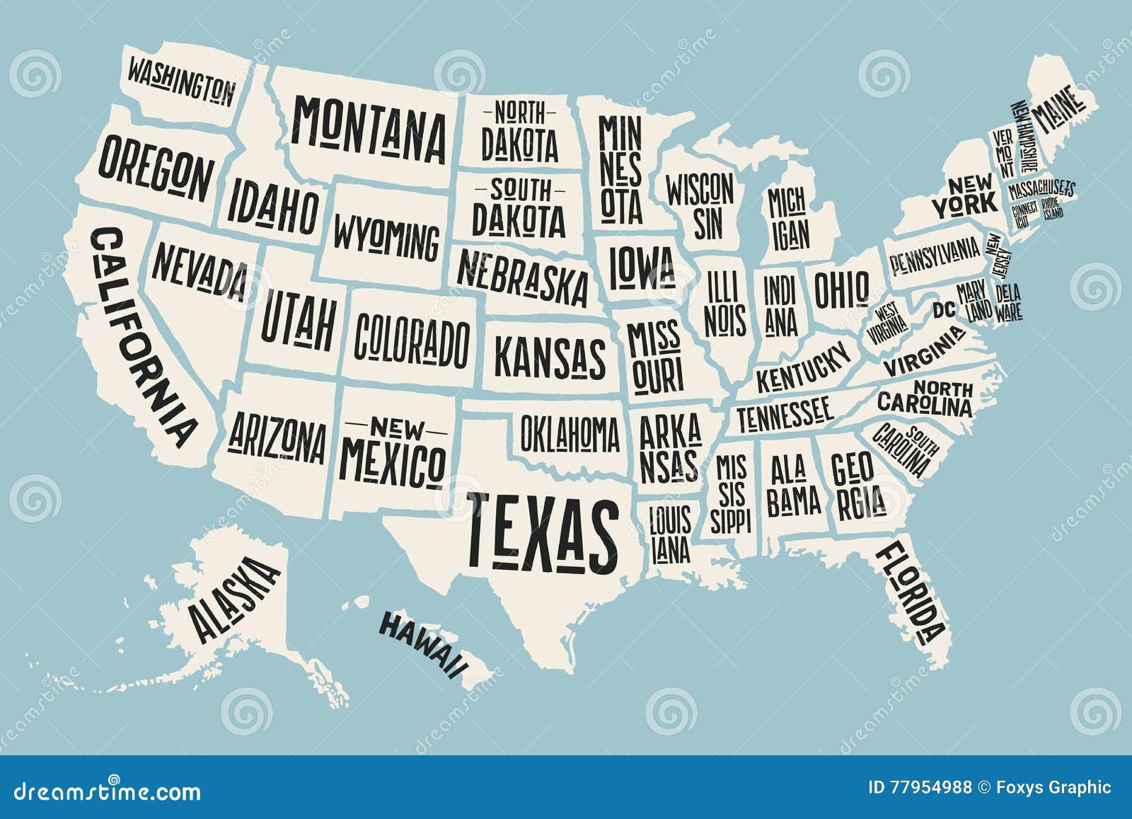 Florida Karte Drucken.Die Plakatkarte Vereinigten Staaten Von Amerika Mit Zustandsnamen