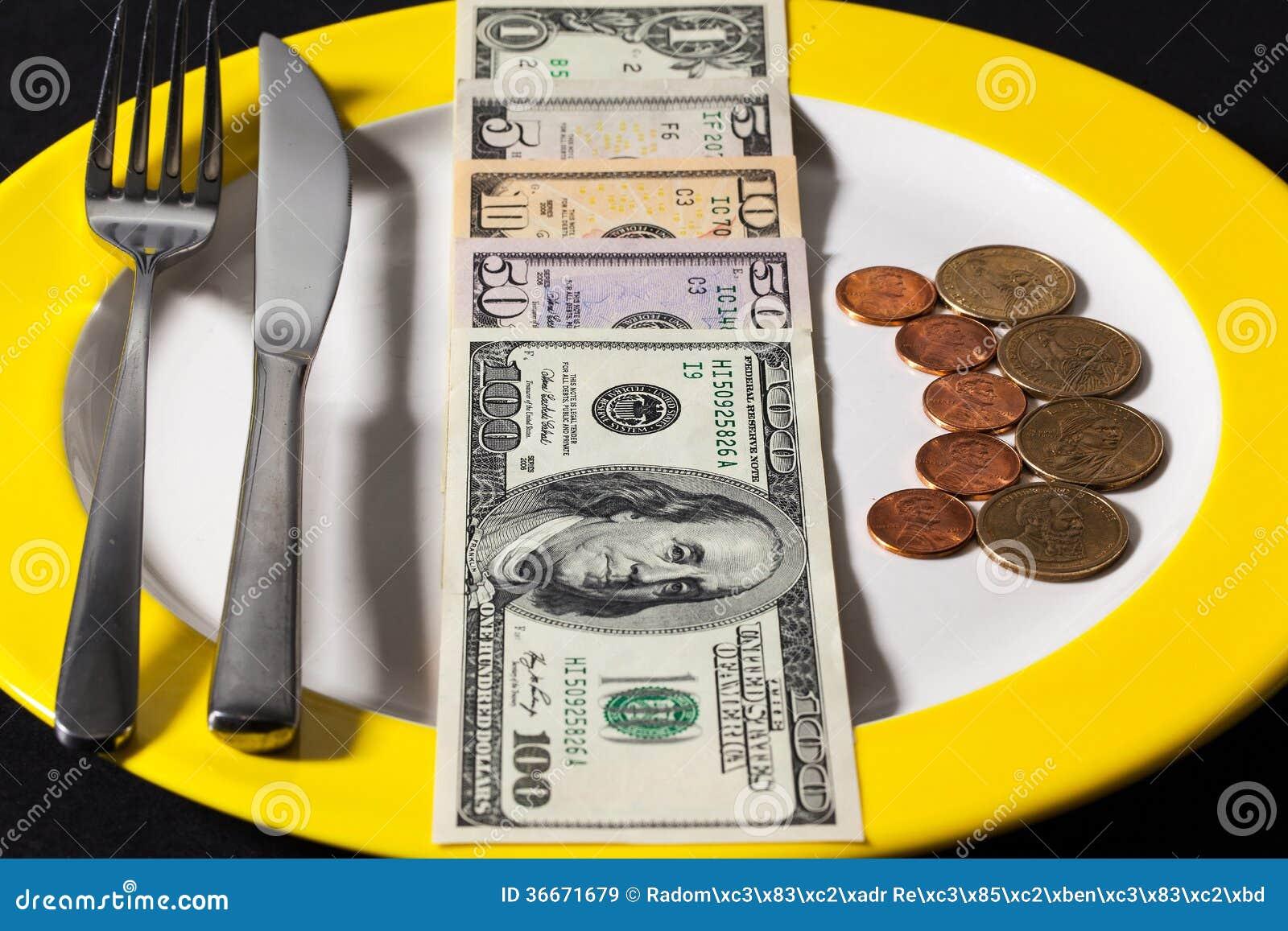 Die Platte mit Geld