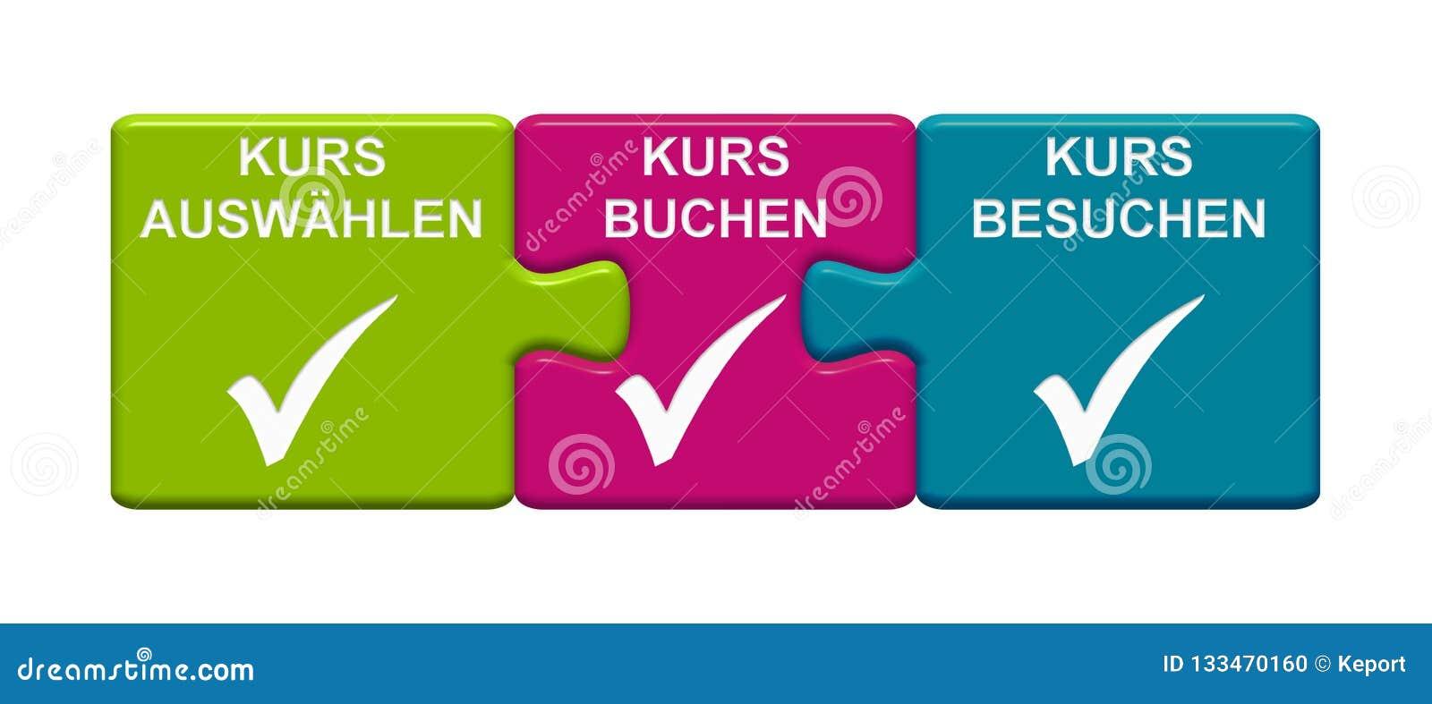 3, die Puzzlespiel Vertretung knöpft, wählen Kurs, Buch-Kurs, Besuchs-Fluchdeutscher