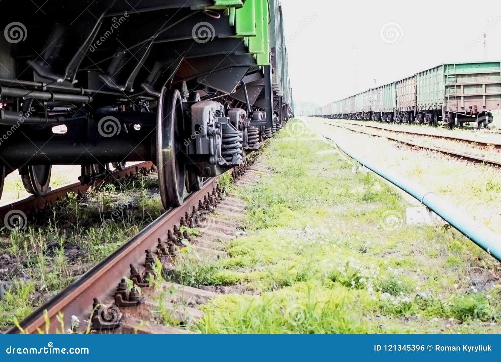 Die Räder der Zugnahaufnahme