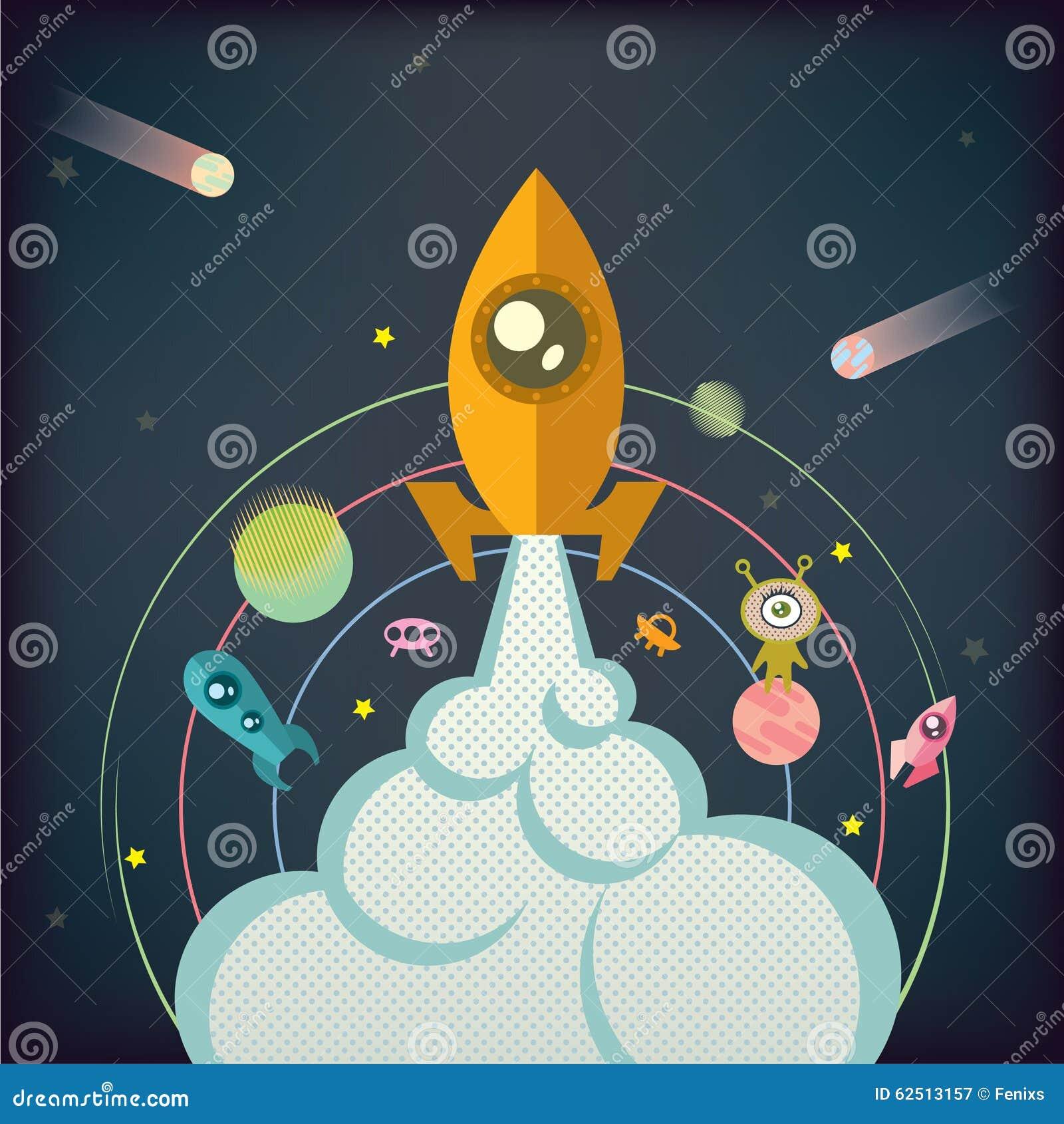 Die Rakete steigt in Raum auf dem Hintergrund von Planeten, Sterne, fliegende Untertassen an