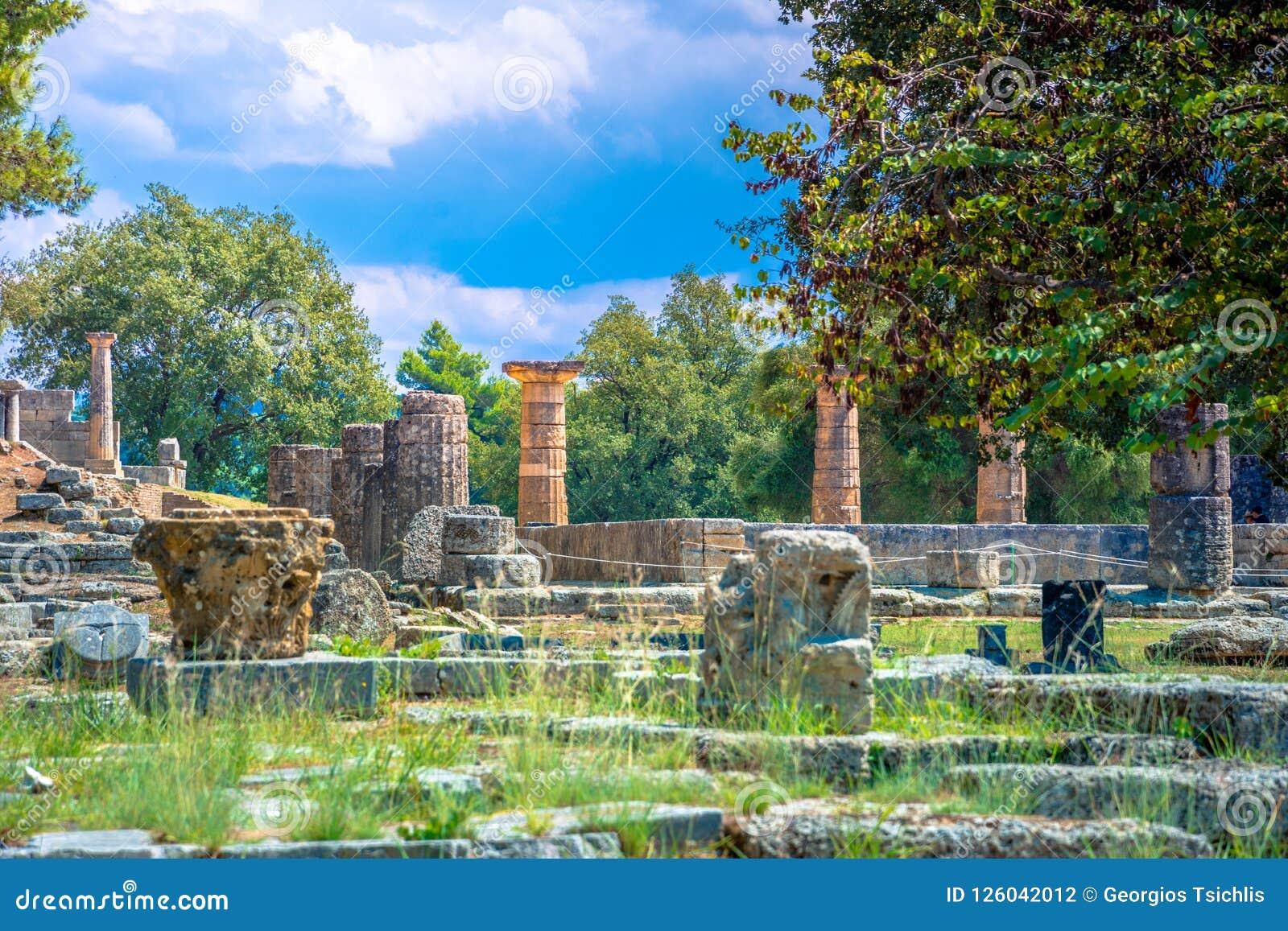 Die Ruinen der alten Olympia, Griechenland Findet hier die Note der olympischen Flamme statt