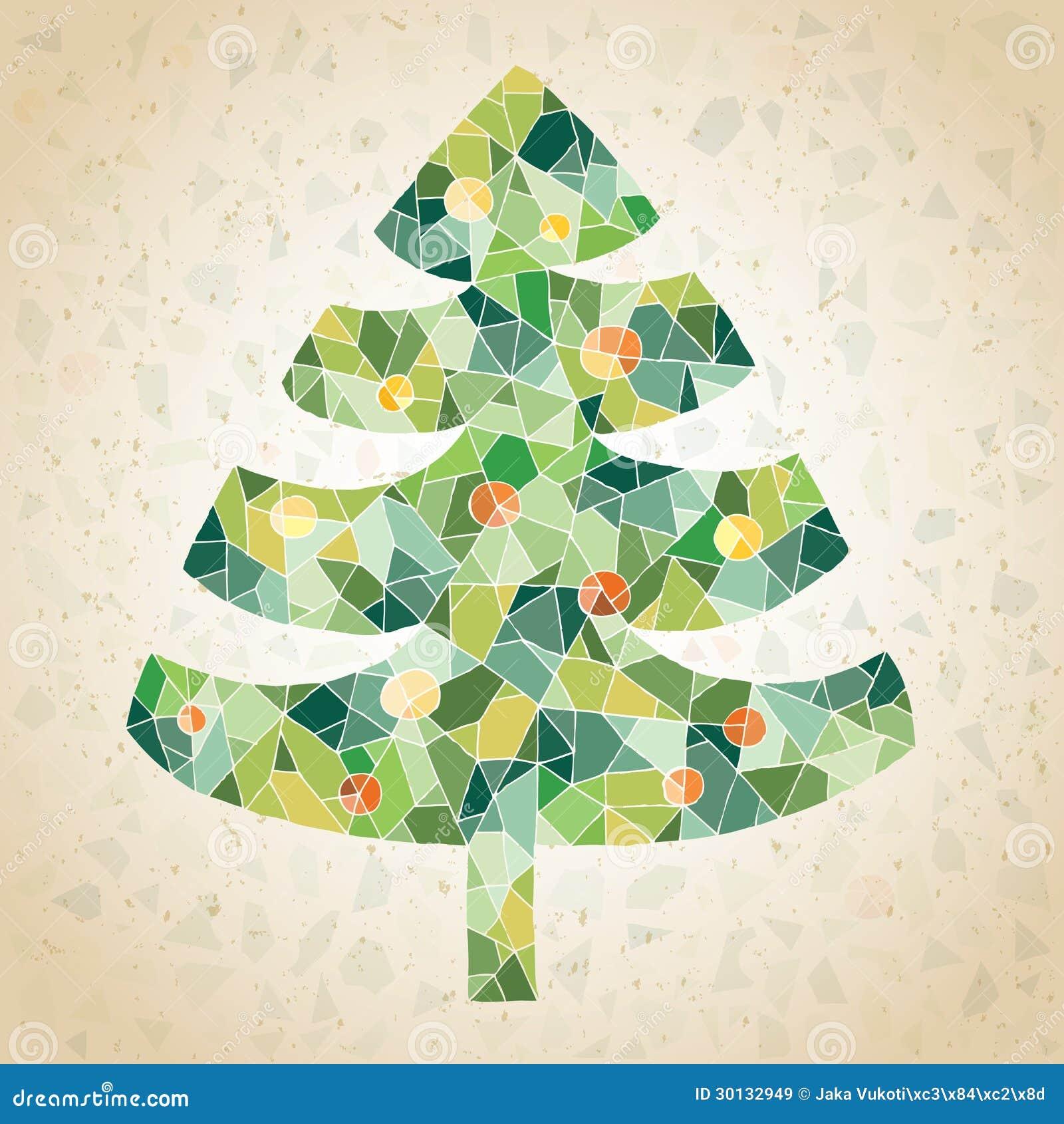 schmutz mosaik weihnachtsbaum gru karte lizenzfreie. Black Bedroom Furniture Sets. Home Design Ideas