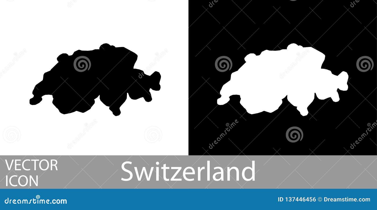 Schweiz Karte Schwarz Weiss.Die Schweiz Fuhrte Karte Einzeln Auf Vektor Abbildung