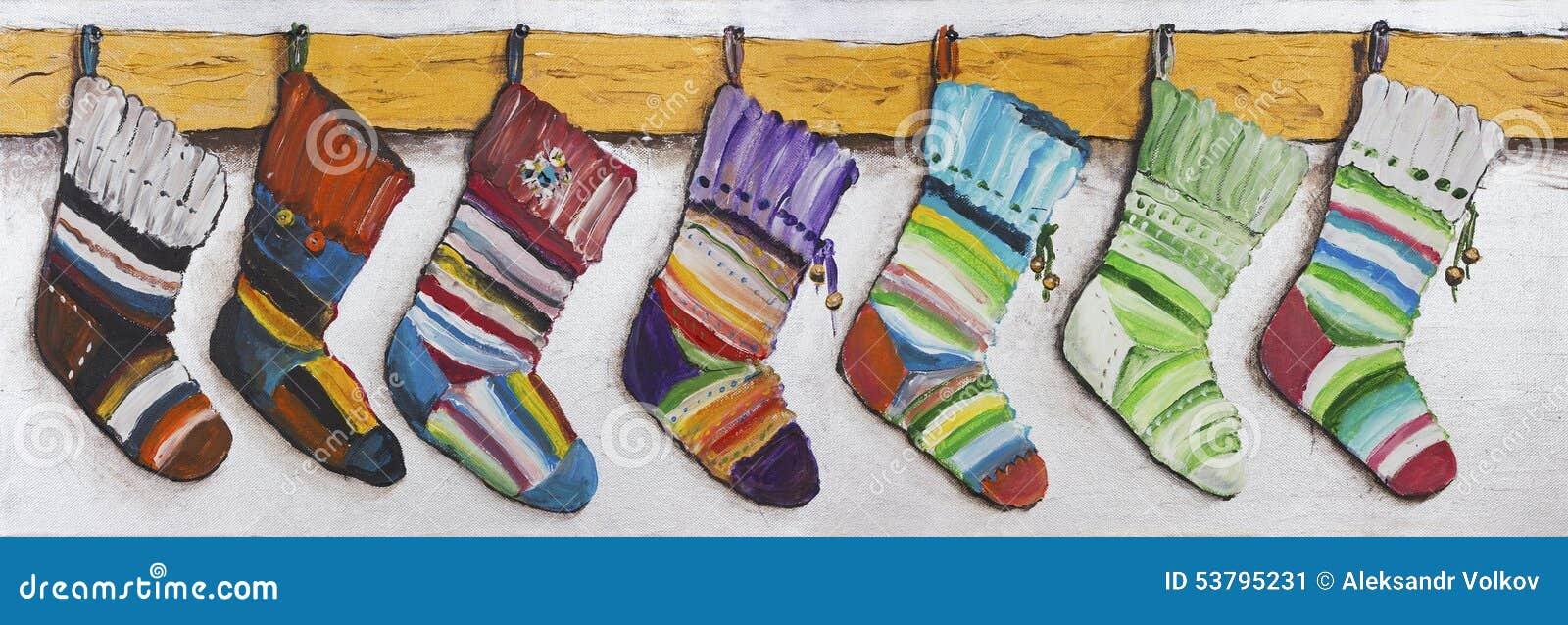 Die Socken Der Kinder Für Weihnachtsgeschenke Stock Abbildung ...