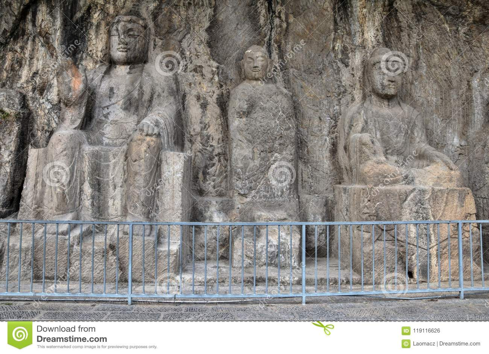 Die Steincarvings in den Longmen-Grotten in Henan-Provinz in China
