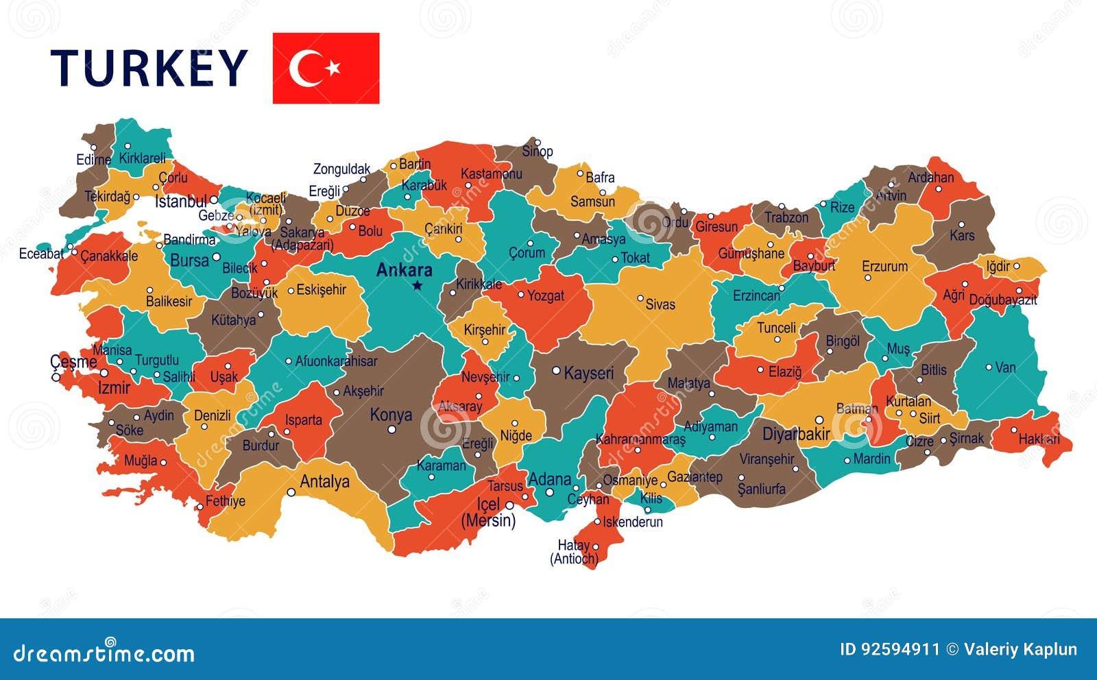 Karte Türkei.Die Türkei Karte Und Flagge Illustration Stock Abbildung