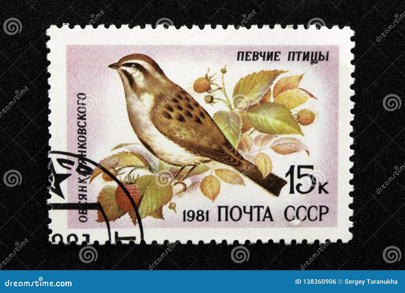 Die UDSSR-Briefmarke, Reihe - Songbirds, 1981